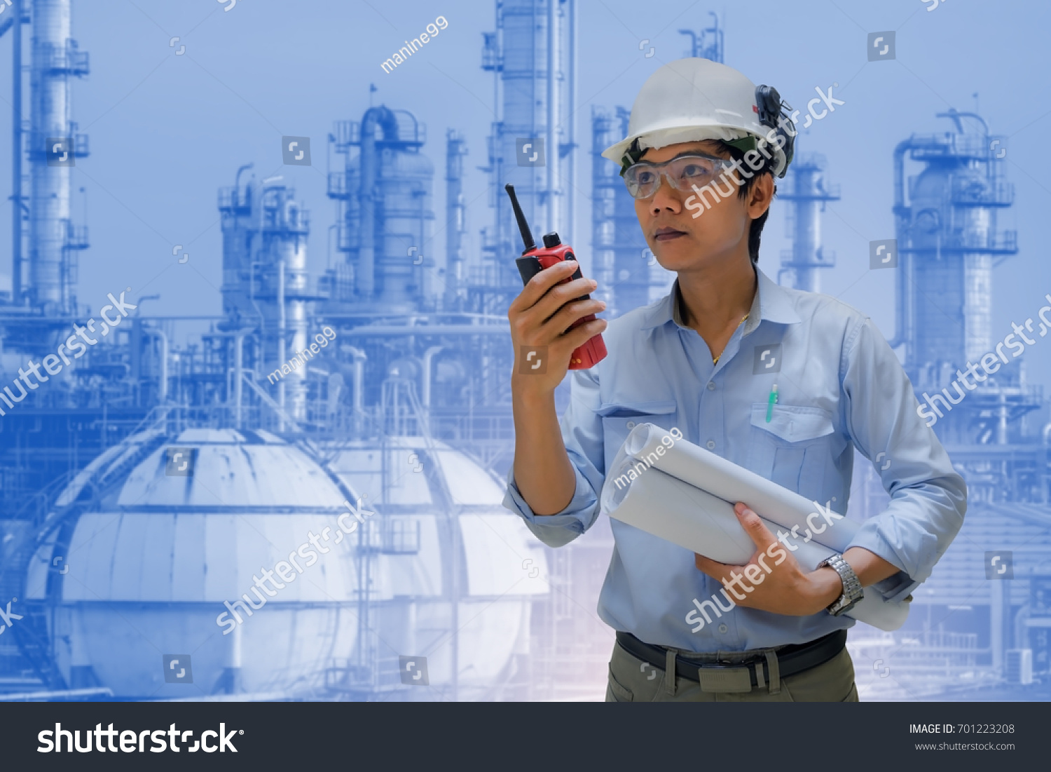 Operator Engineering Standing Talk Radio Communication Stock Photo Process Flow Diagram Or And Hand Holding On Petrochemical Plant