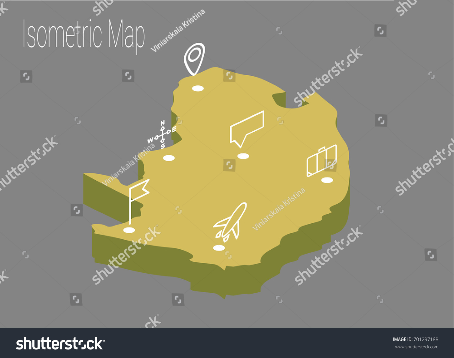 Map North Africa Isometric Concept 3d Stock Vector 701297188