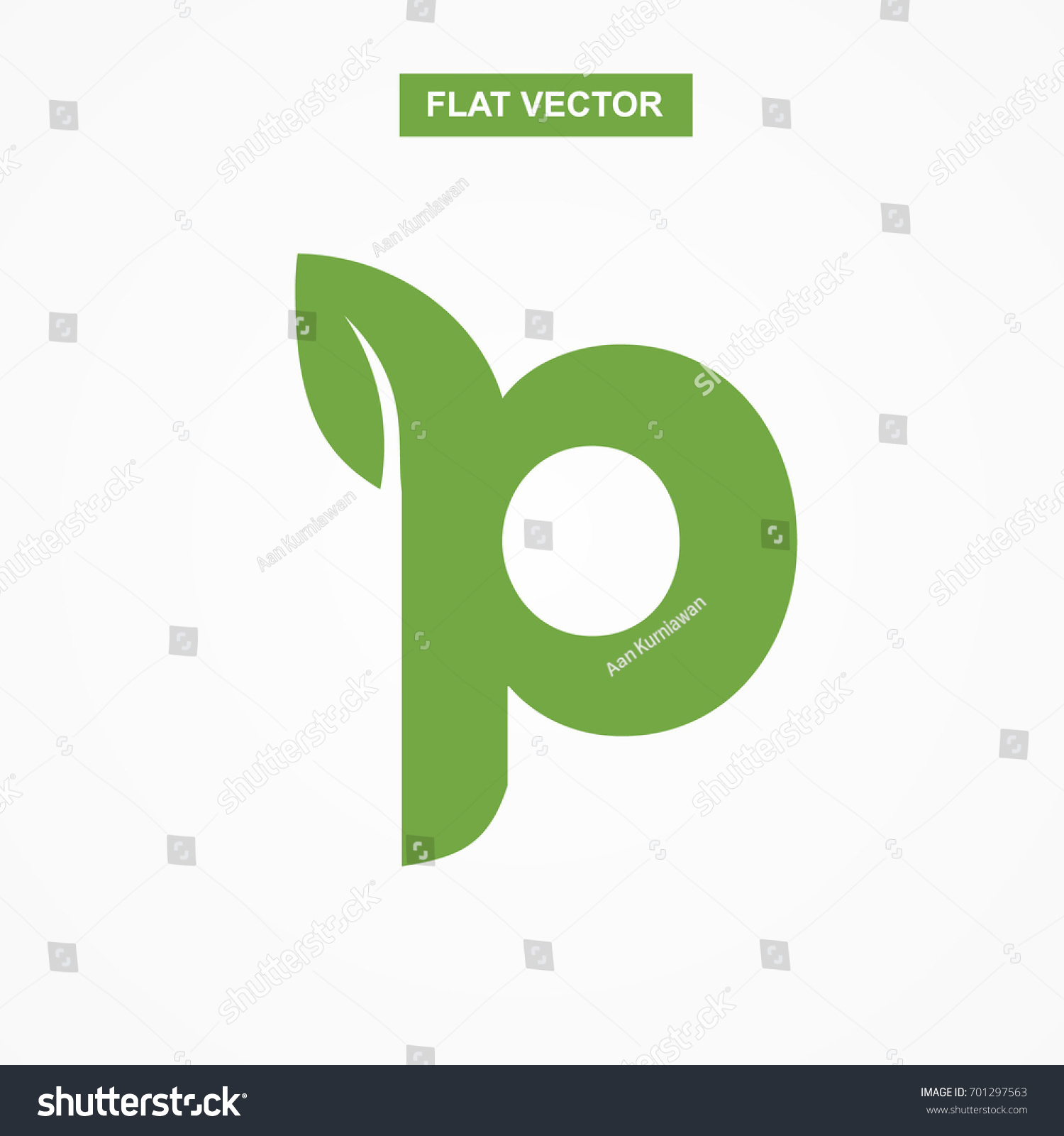 P Letter Font Logo Flat Leaf Stock Photo Photo Vector