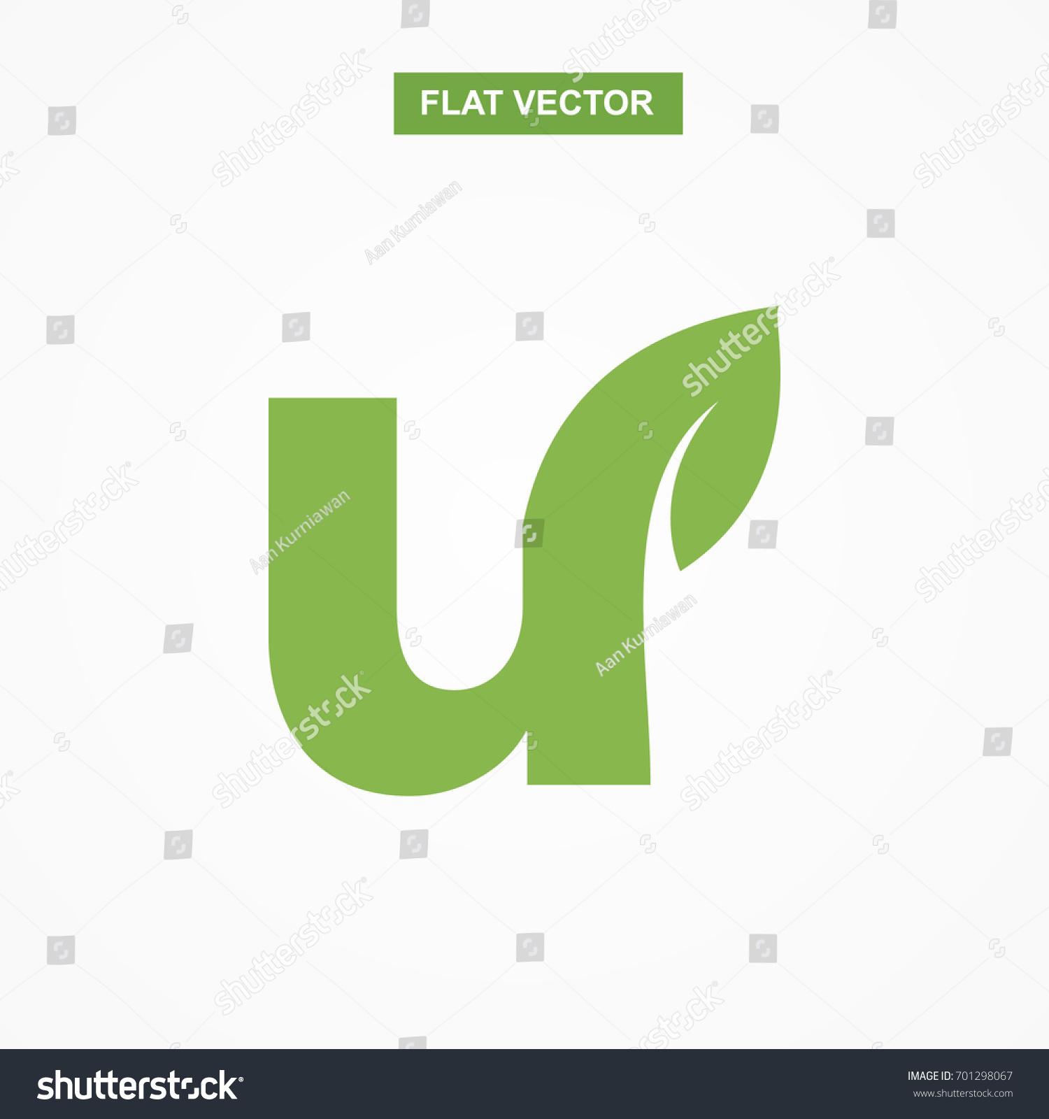 U letter font logo flat leaf stock vector 701298067 shutterstock u letter font logo flat with leaf vector logo template biocorpaavc Gallery