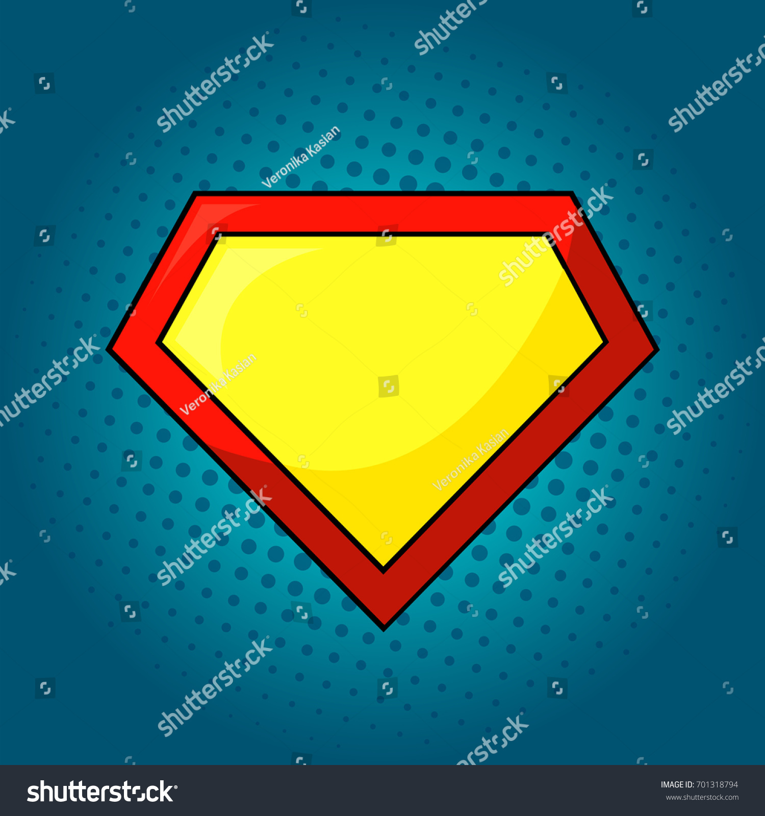 Superhero Logo Template At Bright Blue Pop Art Background Isolated