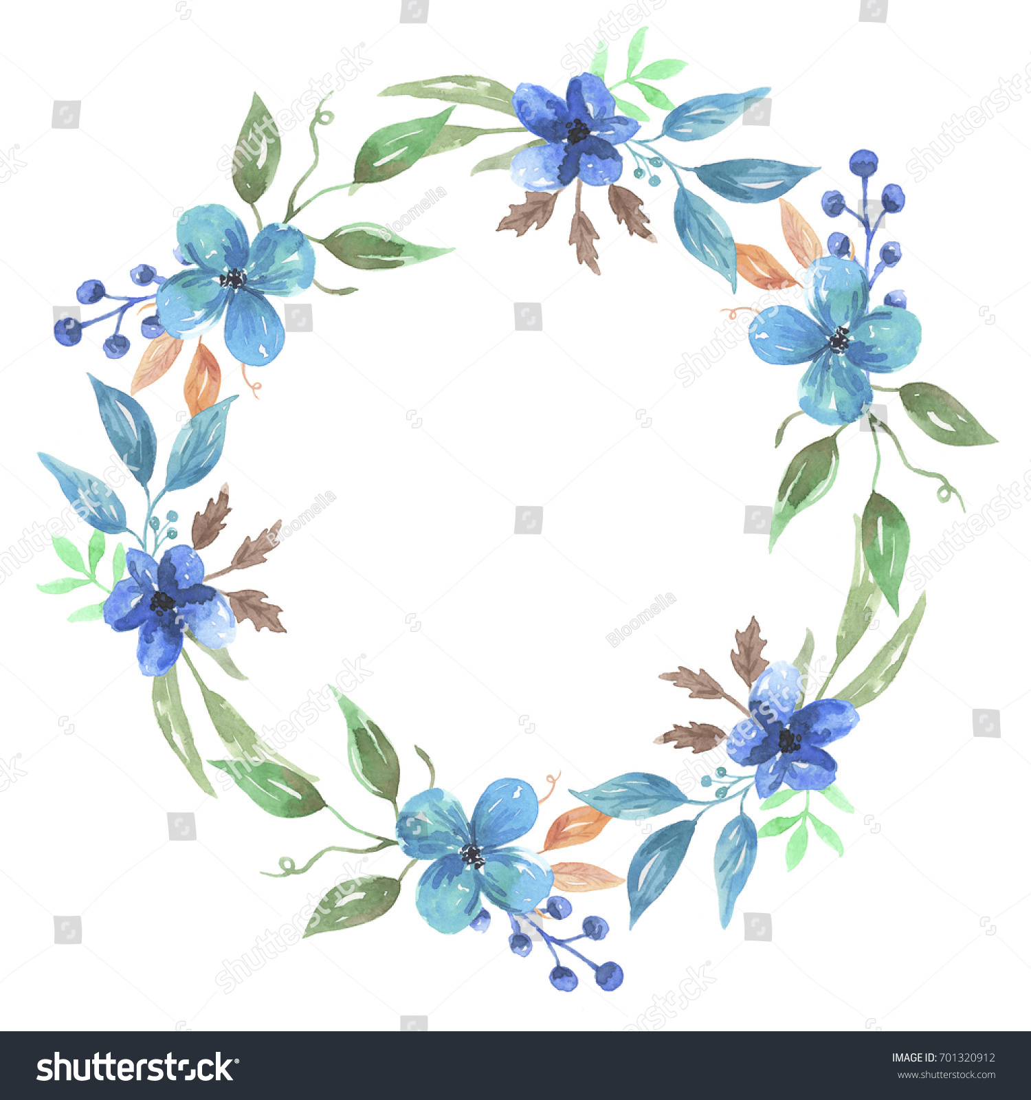 Watercolor flower blue flowers wreath hand stock illustration watercolor flower blue flowers wreath hand painted garland izmirmasajfo