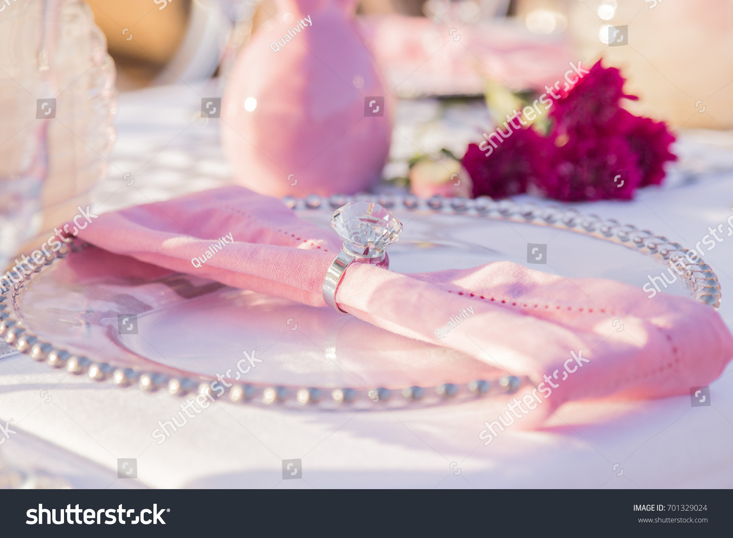 Pink Napkin On White Decorative Plate Stock Photo (Download Now ...