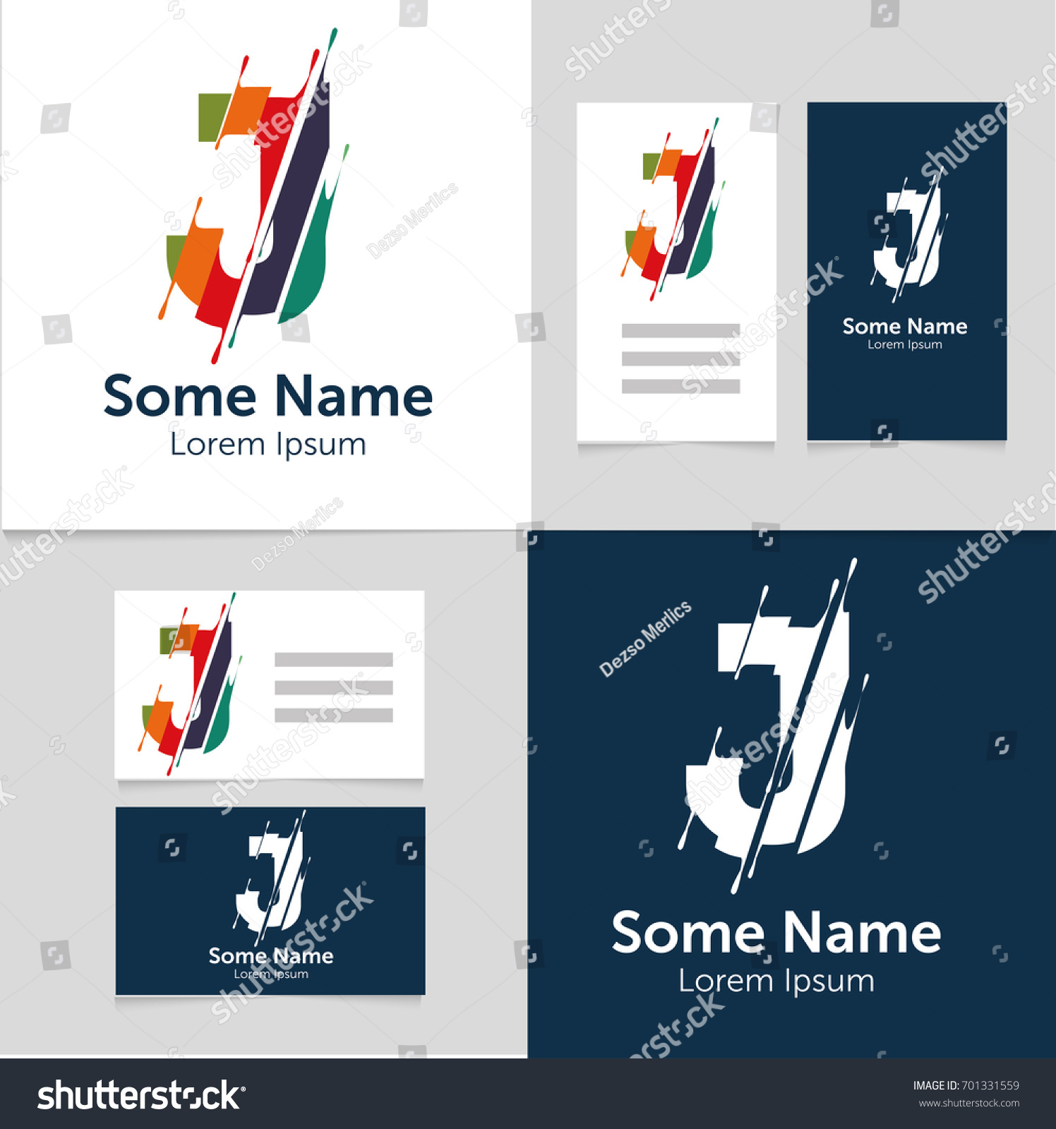 editable business card template j letter stock vector