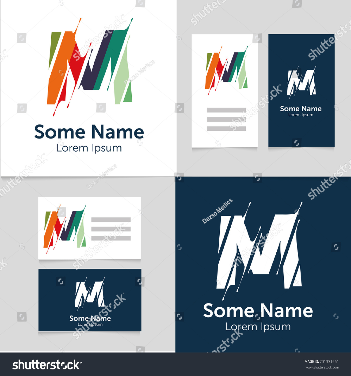 Editable Business Card Template M Letter Stock Vector 701331661 ...