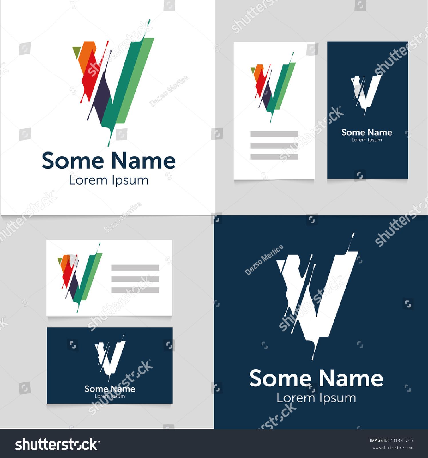 Editable Business Card Template V Letter Stock Vector 701331745 ...