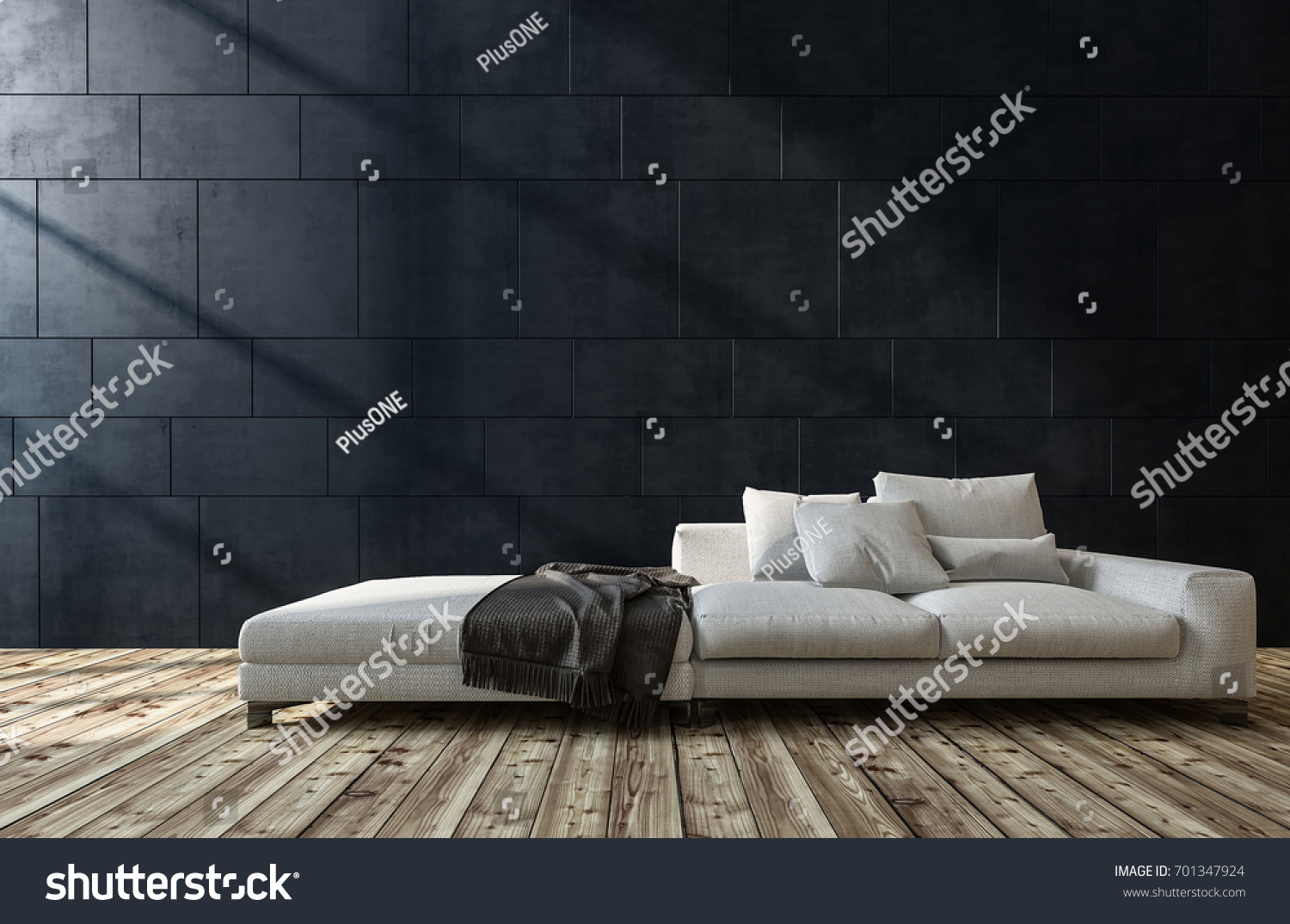 Large Generic White Sofa In A Living Room Interior With Wooden Floor And Dark Grey Brick