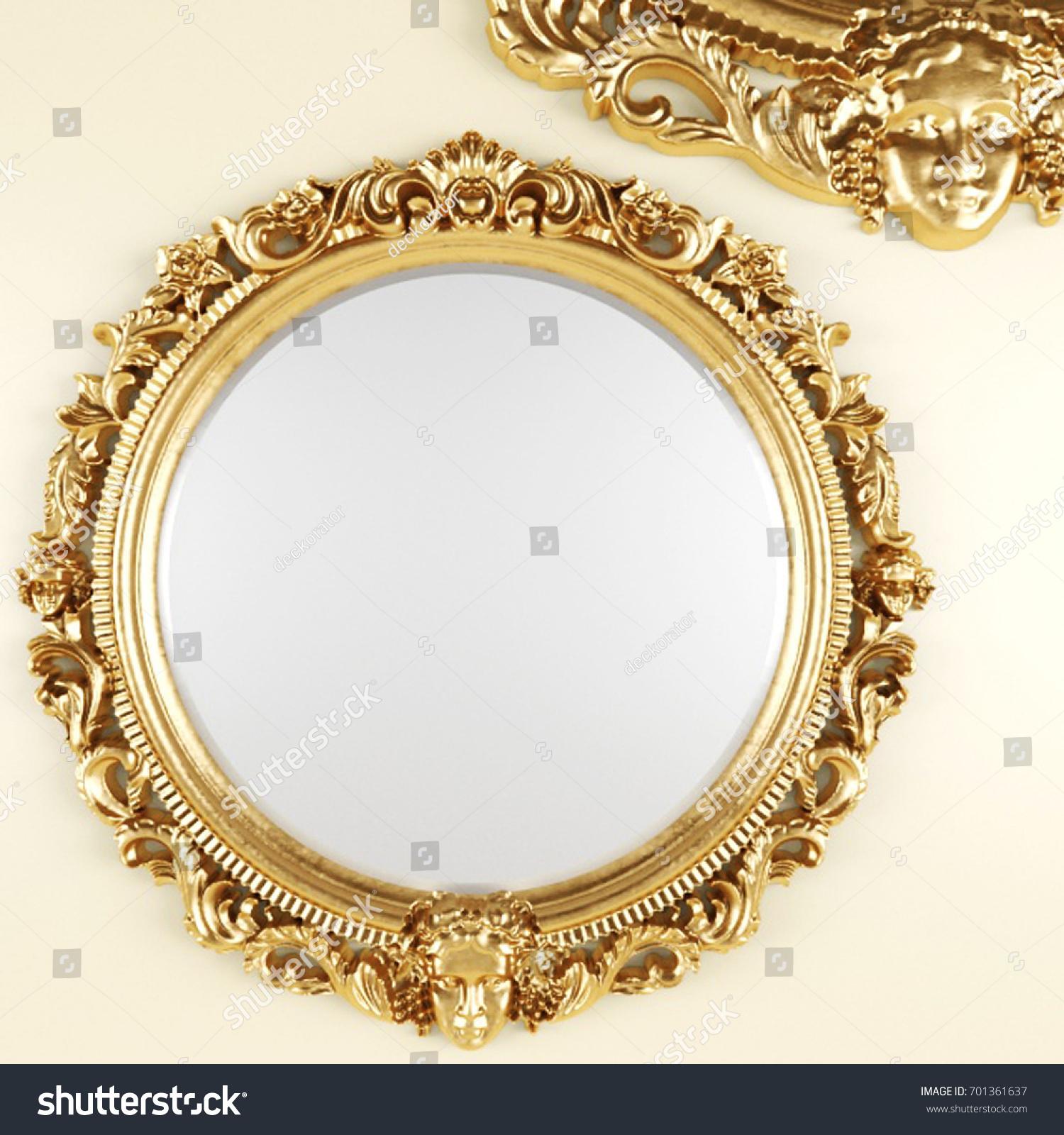3 D Render Classic Mirror Golden Frame Stock Illustration 701361637 ...