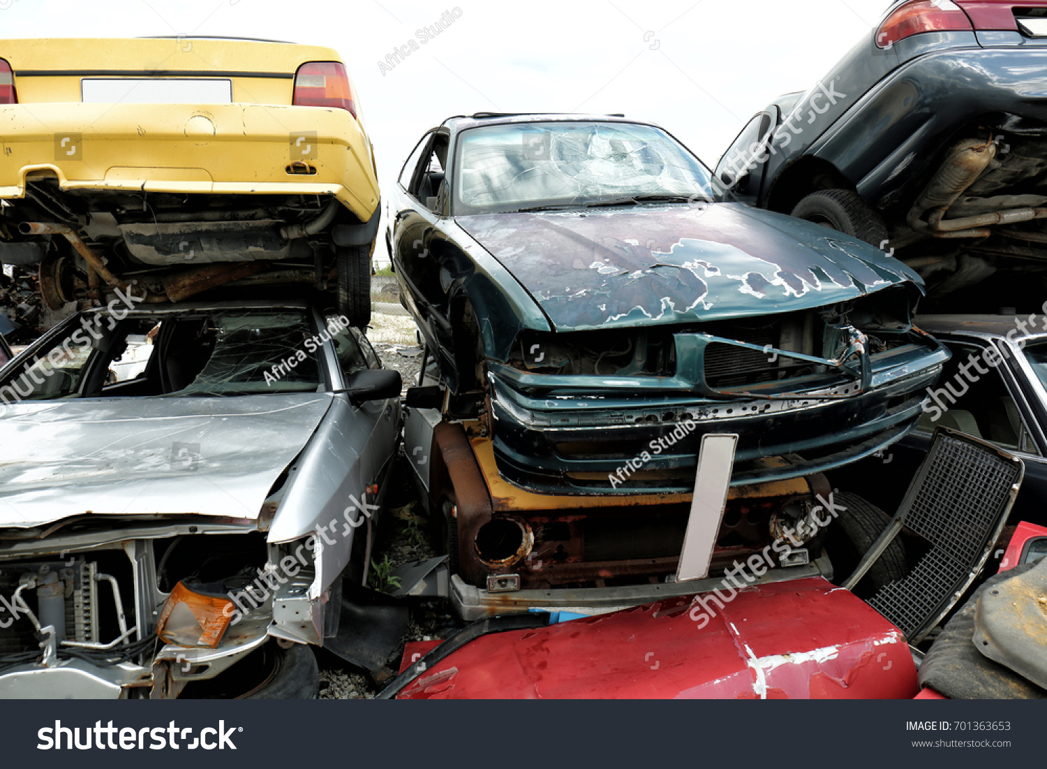 Piled Crushed Cars On Salvage Yard Stock Photo (Download Now ...
