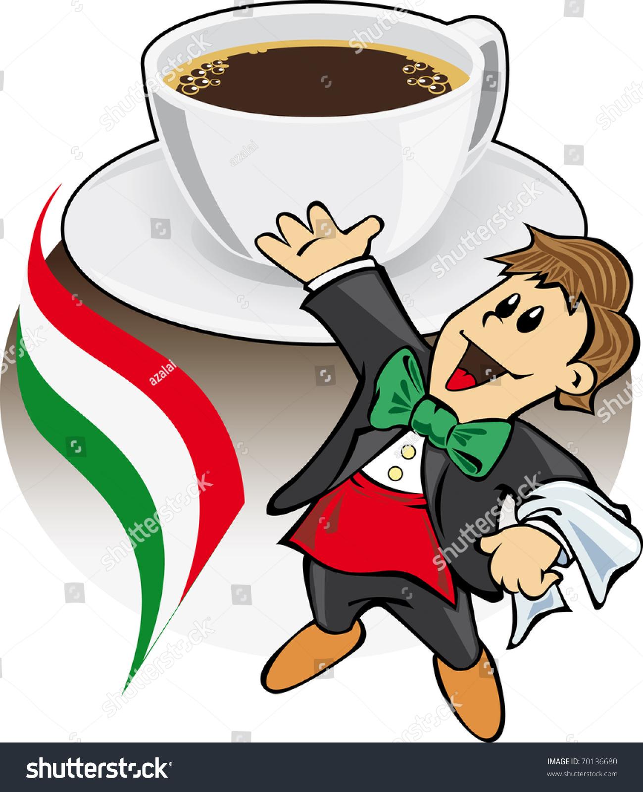 Italian Coffee Maker Vector : Espresso Coffee With Italian Waiter Stock Vector Illustration 70136680 : Shutterstock