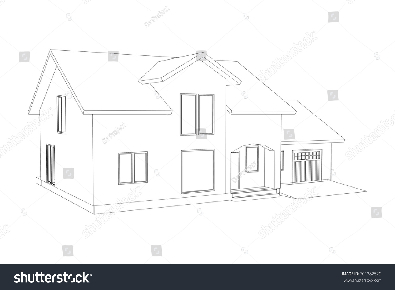 3d suburban house model drawing modern stock vector 701382529 3d suburban house model drawing of the modern building cottage project on white background malvernweather