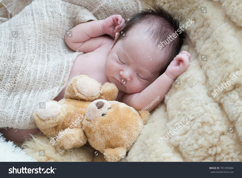 newborn cute baby sleep on white stock photo (edit now) 701395084