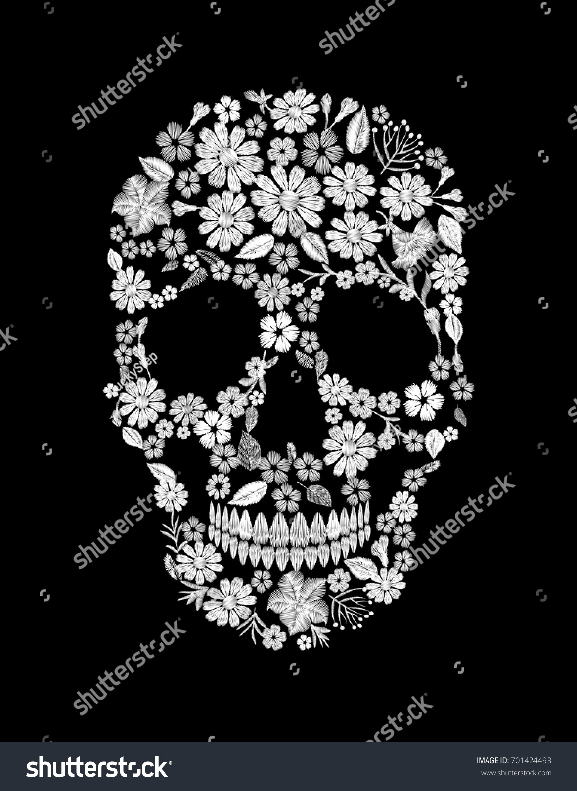 Vintage Embroidered Flower Skull Muertos Dead Stock Photo Photo