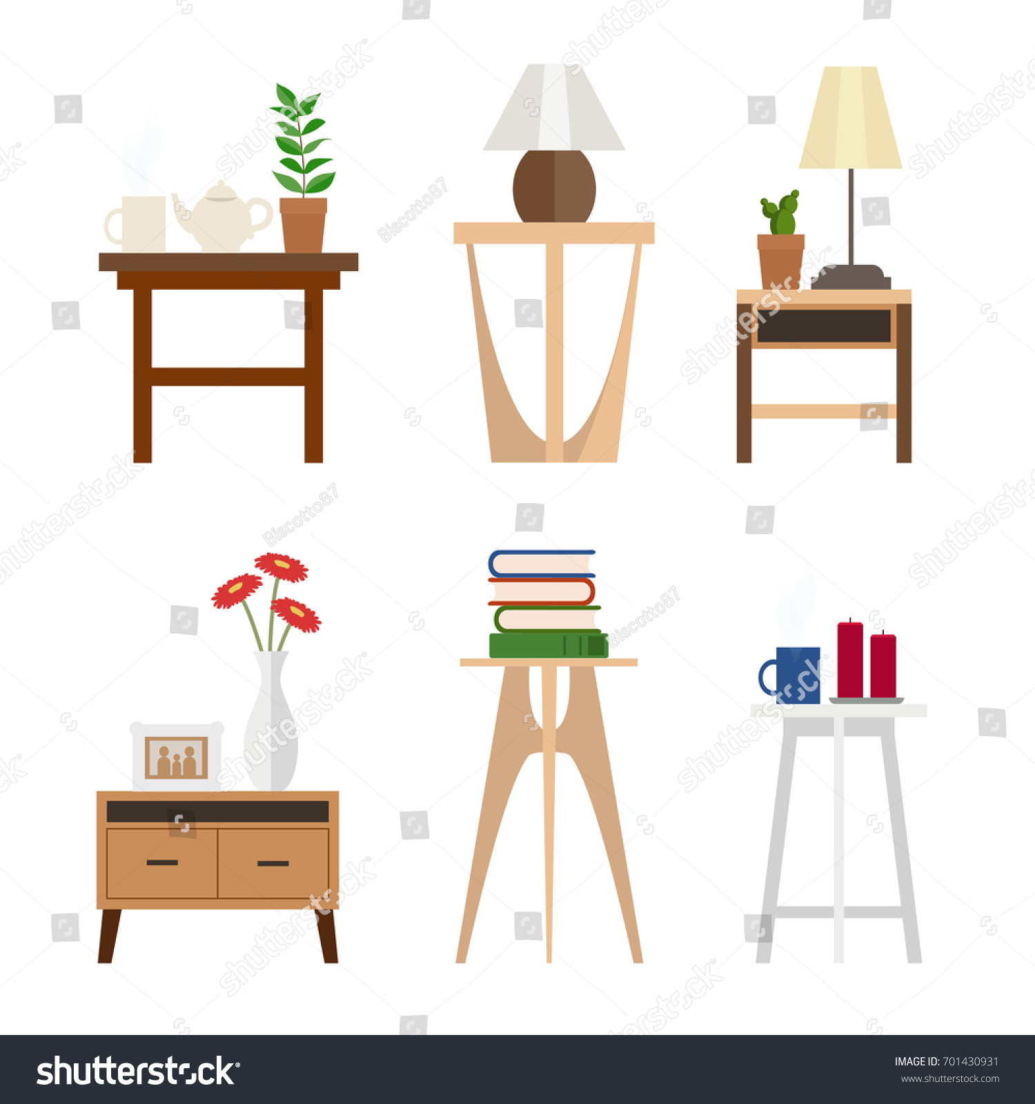 set of different living room side tables flat style vector graphic design template