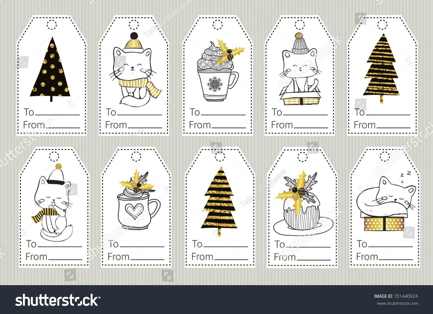 Set Christmas New Year Gift Tags Stock Vector Royalty Free
