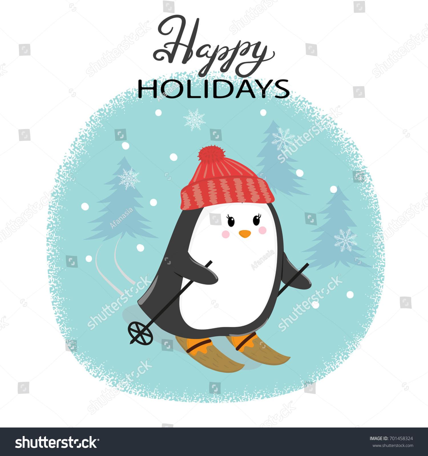 Merry Christmas Card Cute Skiing Penguin Stock Vector (Royalty Free ...