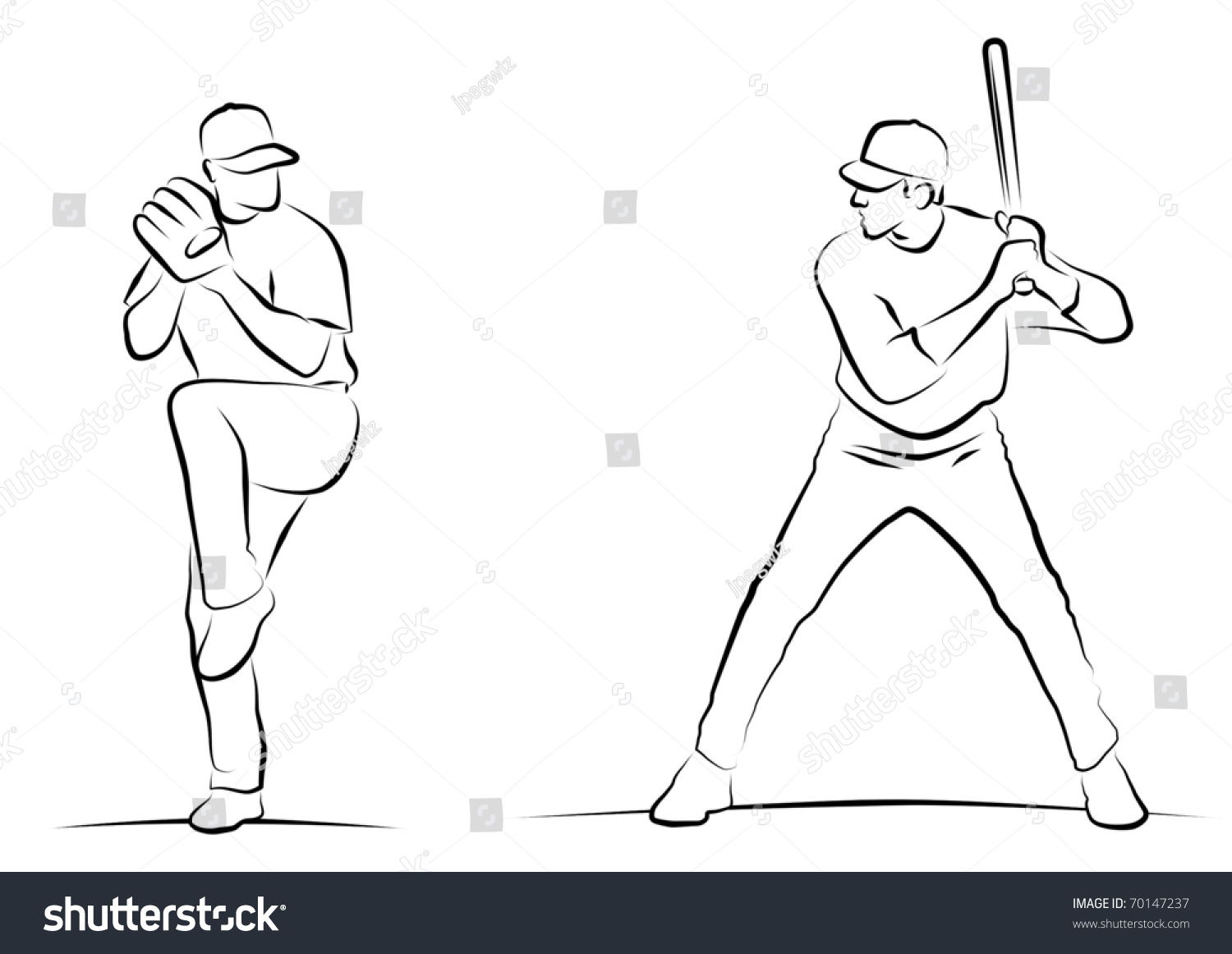 Uncategorized How To Draw A Baseball Pitcher line drawings baseball pitcher batter stock illustration 70147237 of and batter