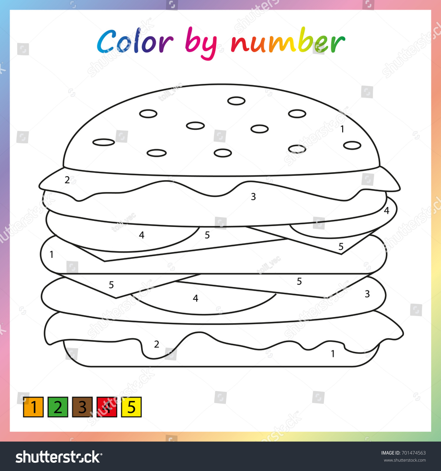 Painting Page Color By Numbers Worksheet Stock Vector 701474563 ...