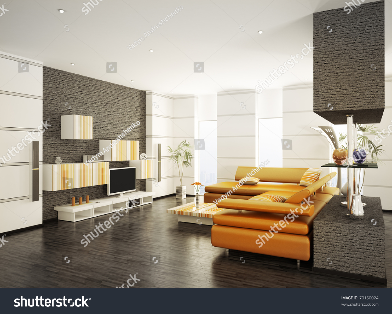 Modern Living Room With Orange Sofa And LCD Interior 3d Render Part 54