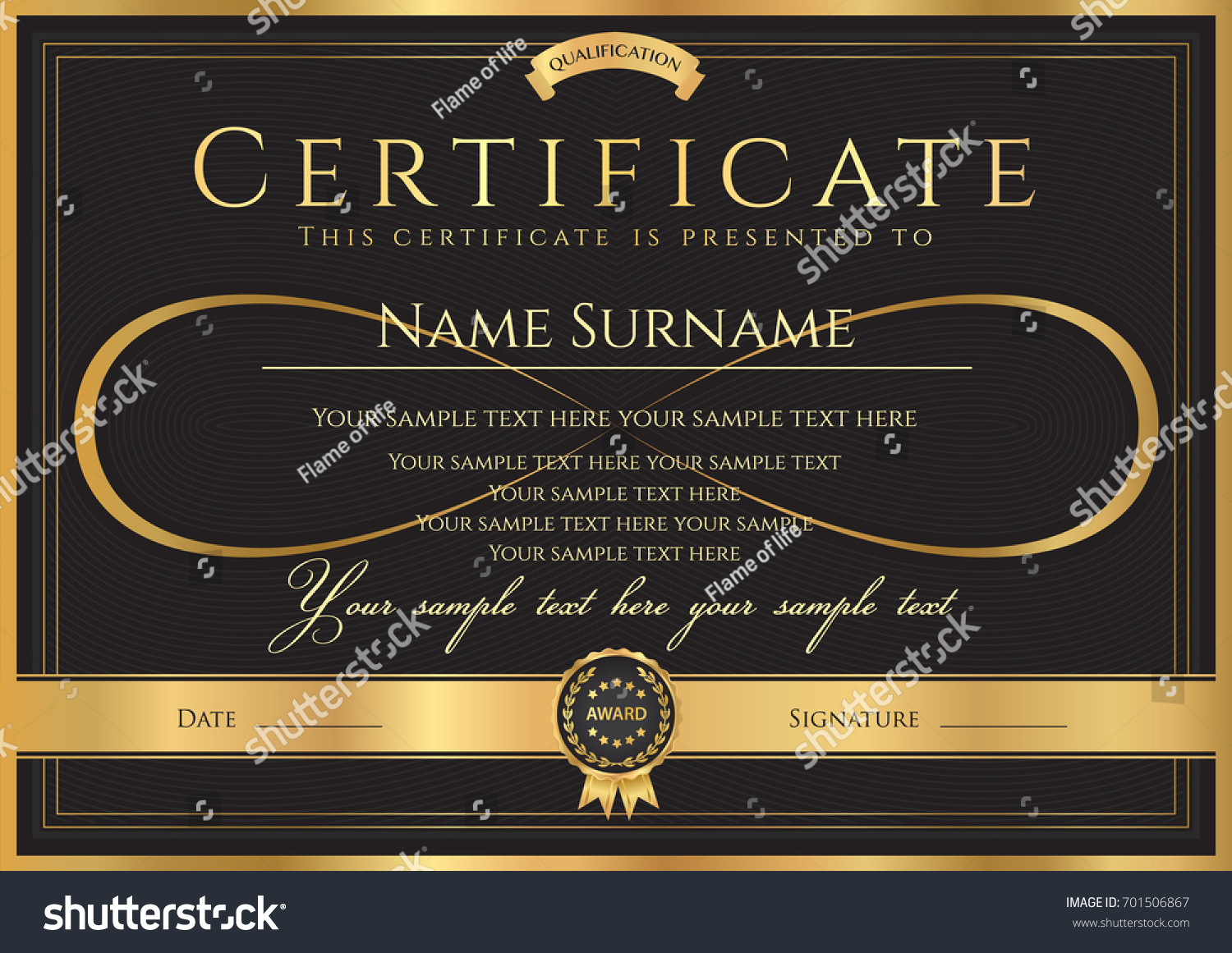 certificate diploma completion abstract design template stock  certificate diploma of completion abstract design template gold frame black background