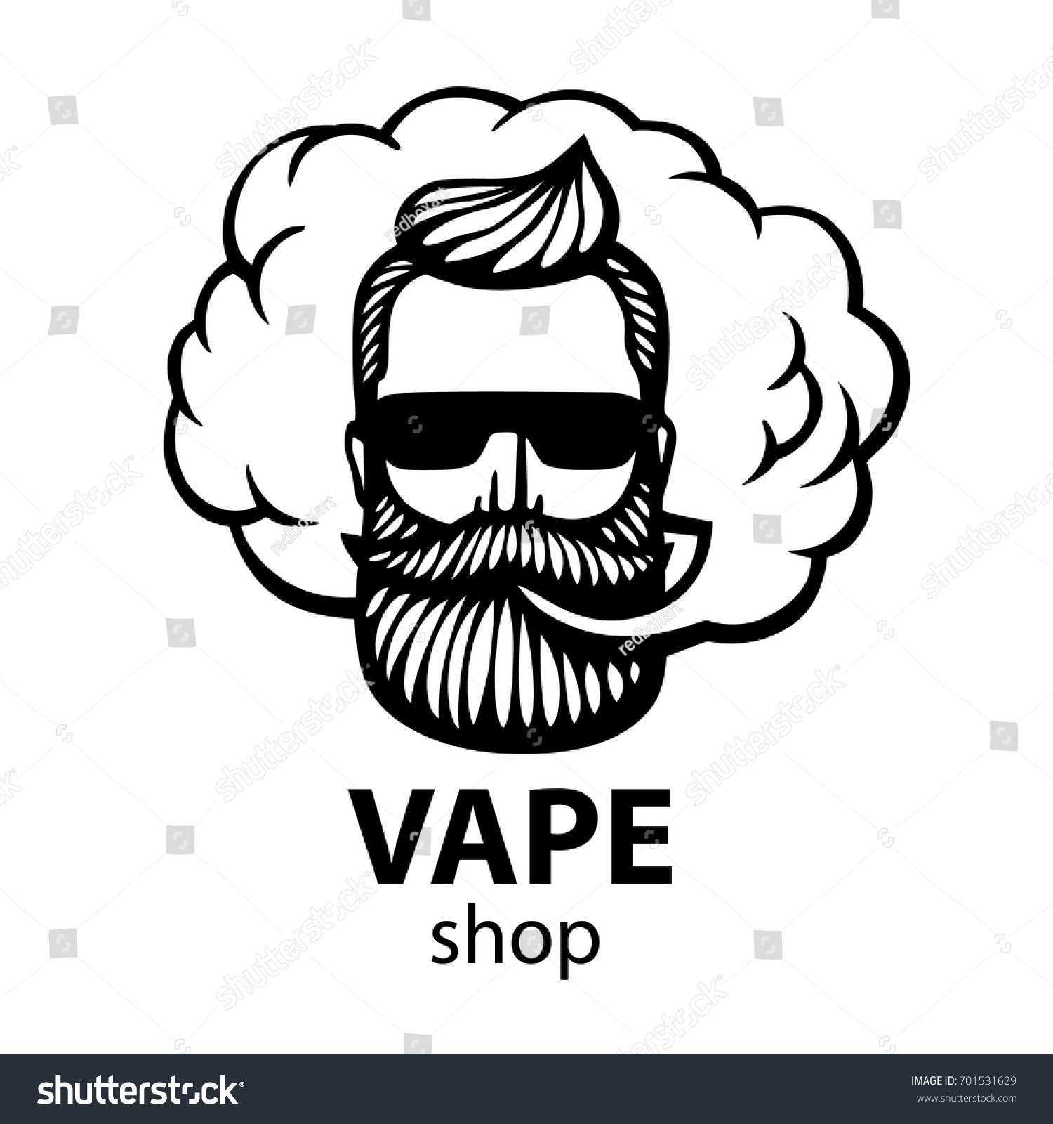 Isolated on white vector background hand drawn hipster dude with mustache and beard