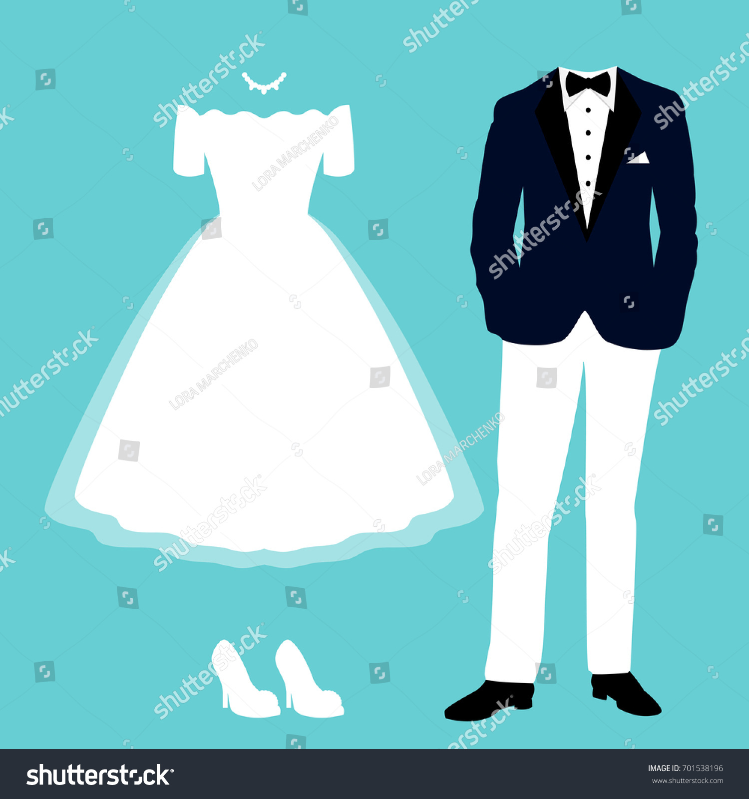 Wedding Card Clothes Bride Groom Clothing Stock Vector HD (Royalty ...