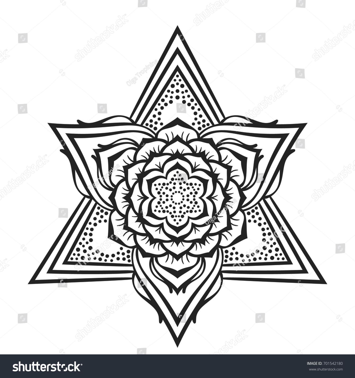 Round Lotus Flower Mandala Triangular Decorative Stock Vector