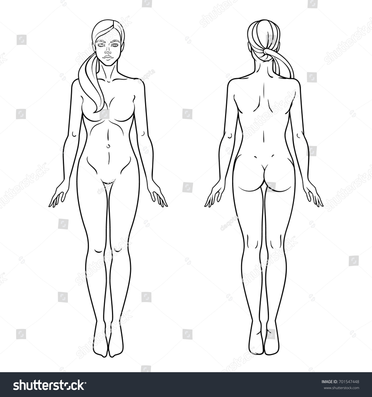 Female Body Front Back View Template Stock Vector (2018) 701547448 ...