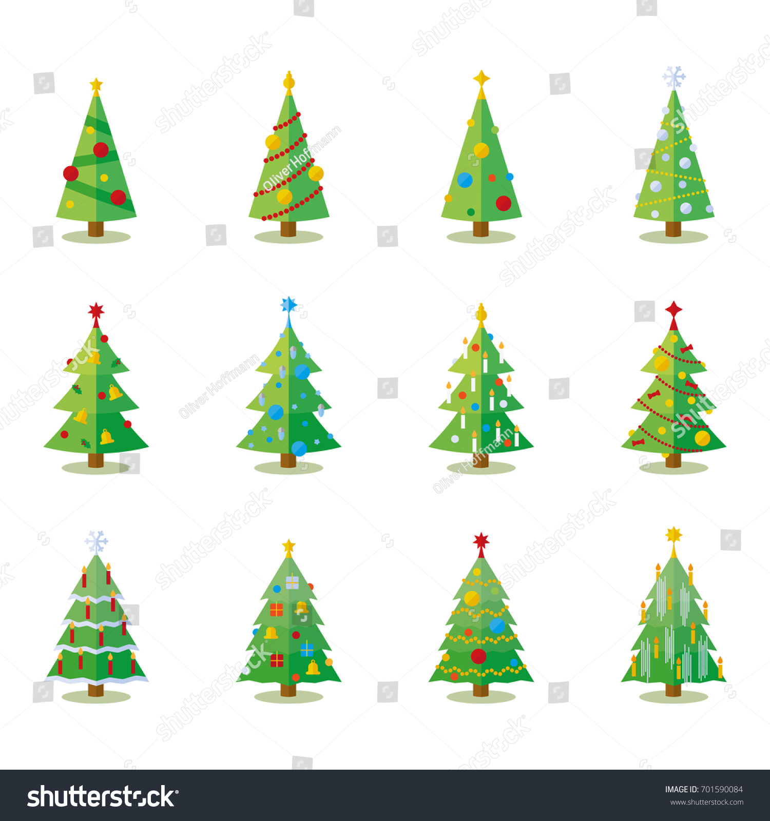 Christmas Tree Flat Design Collection Set Stock Vector