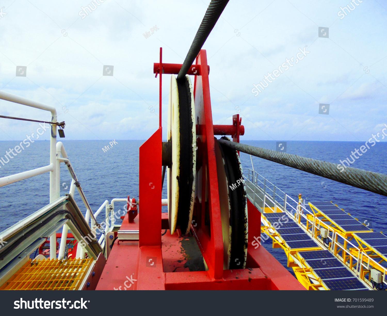 Crane Pedestal Crane Winch Steel Wire Stock Photo (Royalty Free ...