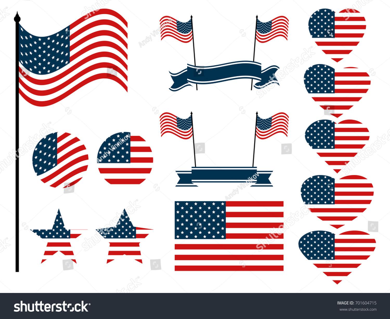 American Flag Set Collection Symbols Flag Stock Vector 701604715