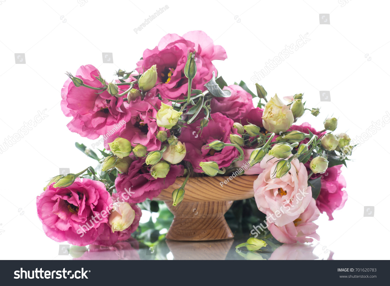 Beautiful Bouquet Of Pink Lisianthus Flowers On A White Background
