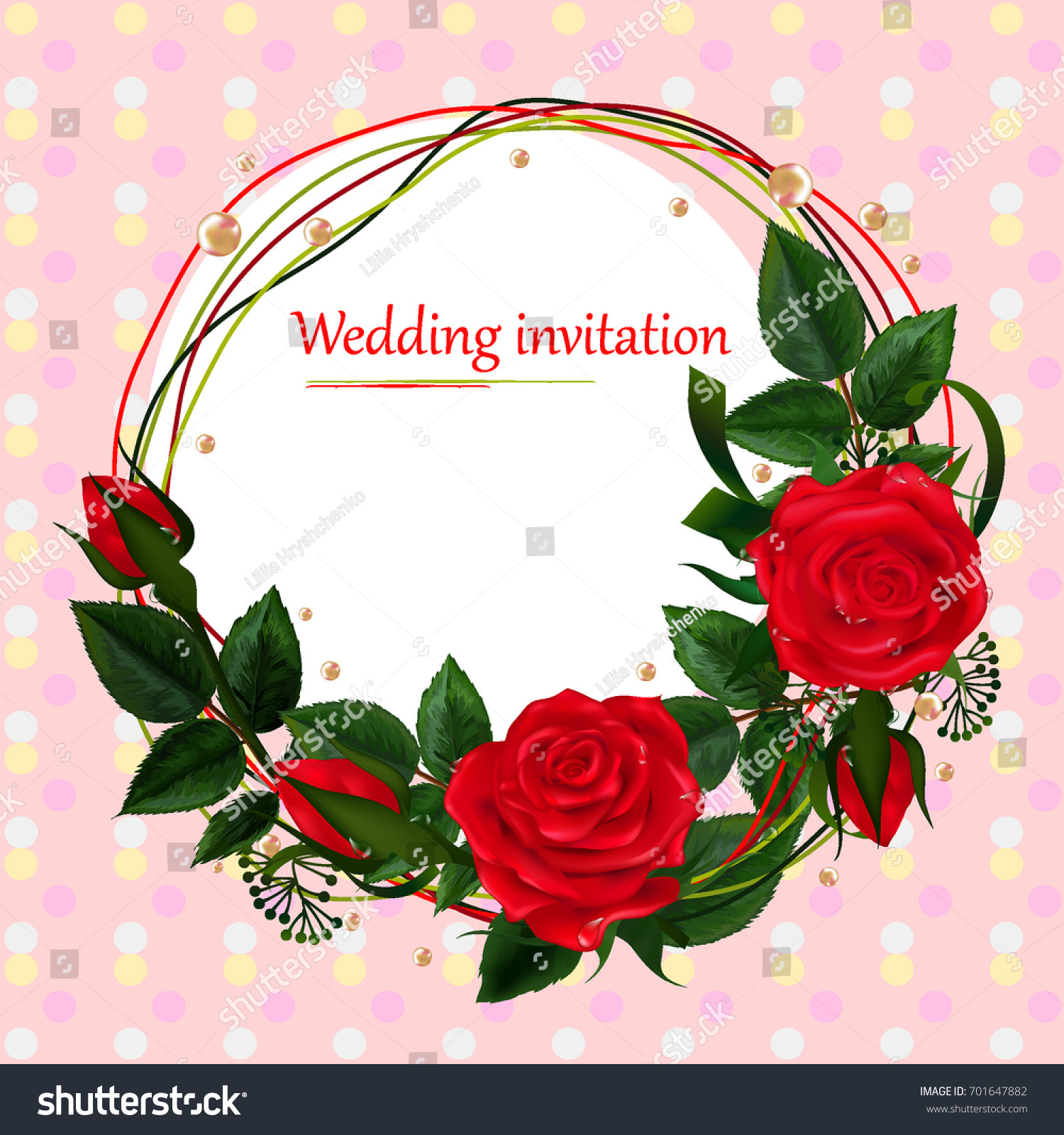 Wedding Card Beautiful Realistic Vector Roses Stock Vector (Royalty ...
