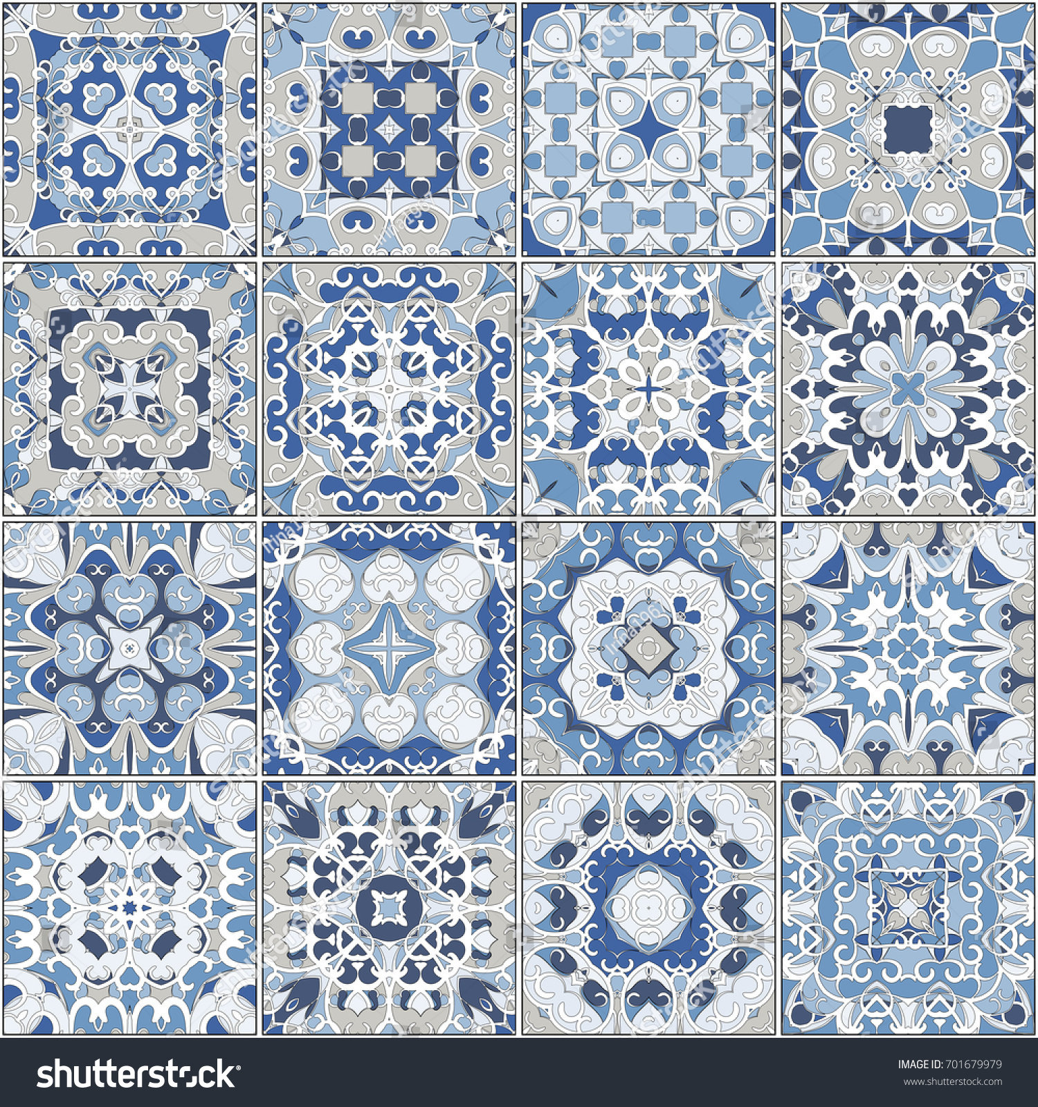 A collection of ceramic tiles in blue colors. A set of square ...