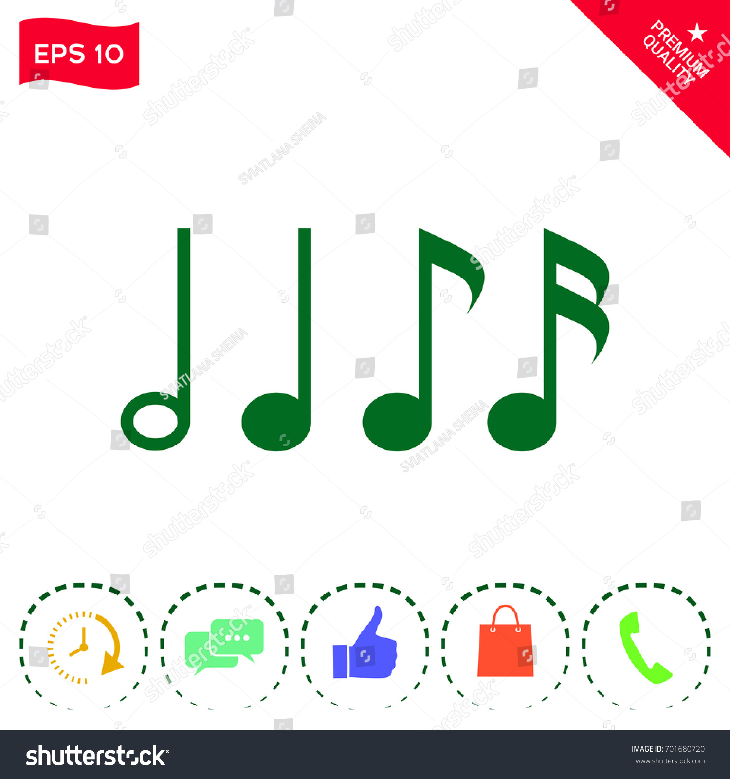 Symbol music notes sixteenth note eighth stock vector 701680720 symbol of music notes sixteenth note eighth note quarter note and half buycottarizona Image collections