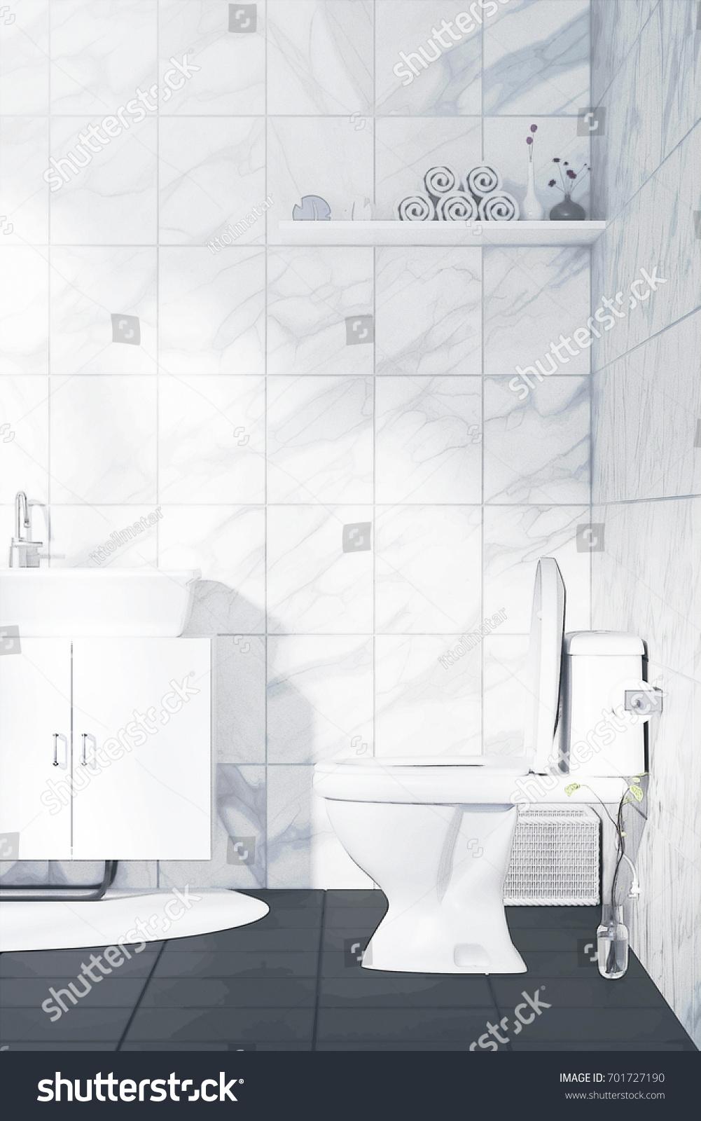 3 D Rendering Illustration White Toilet Bathroom Stock Illustration ...