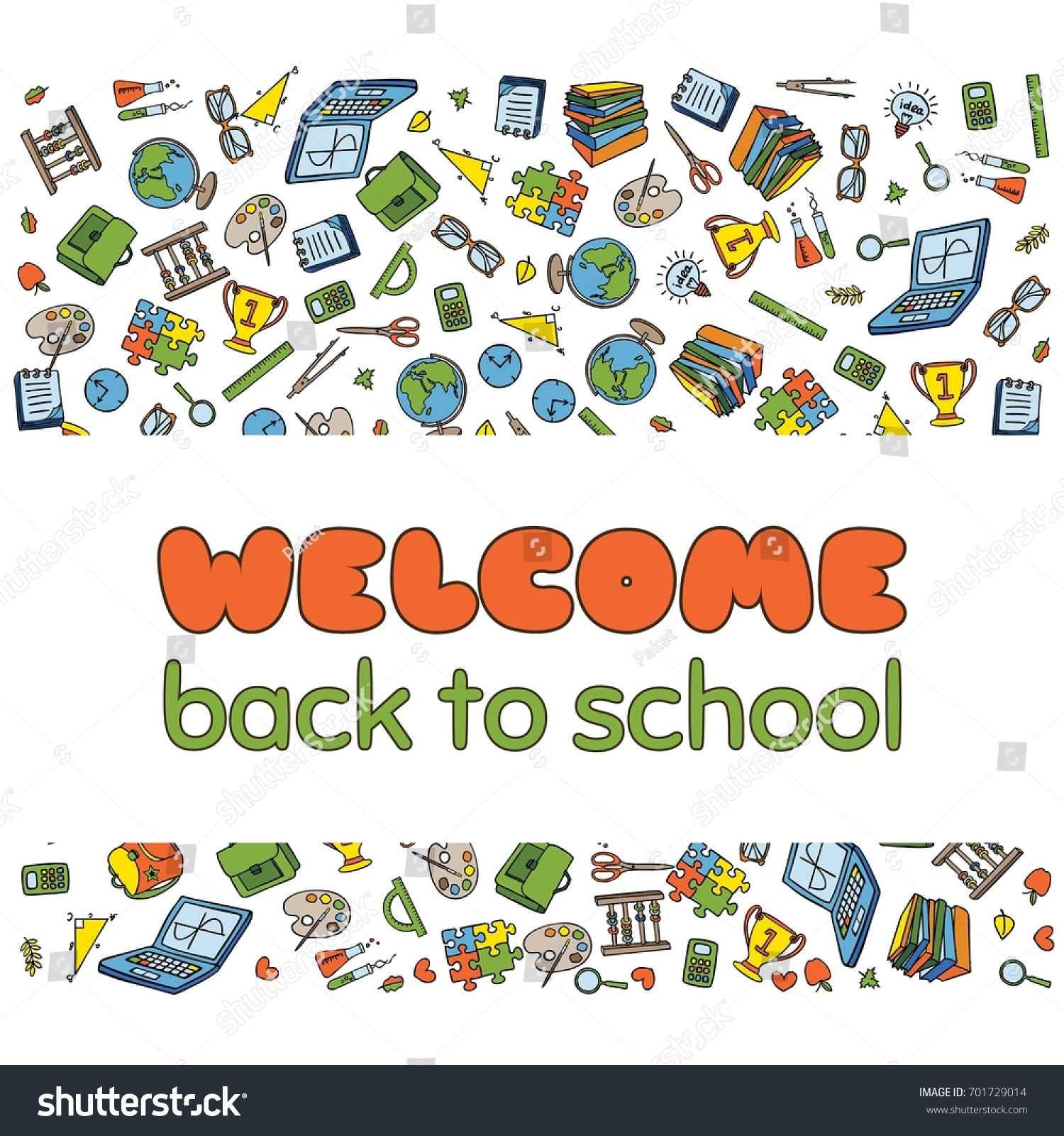 Doodle welcome back school poster hand stock vector 701729014 doodle welcome back to school poster hand drawn stationary graphic design elements for school invitation stopboris Image collections