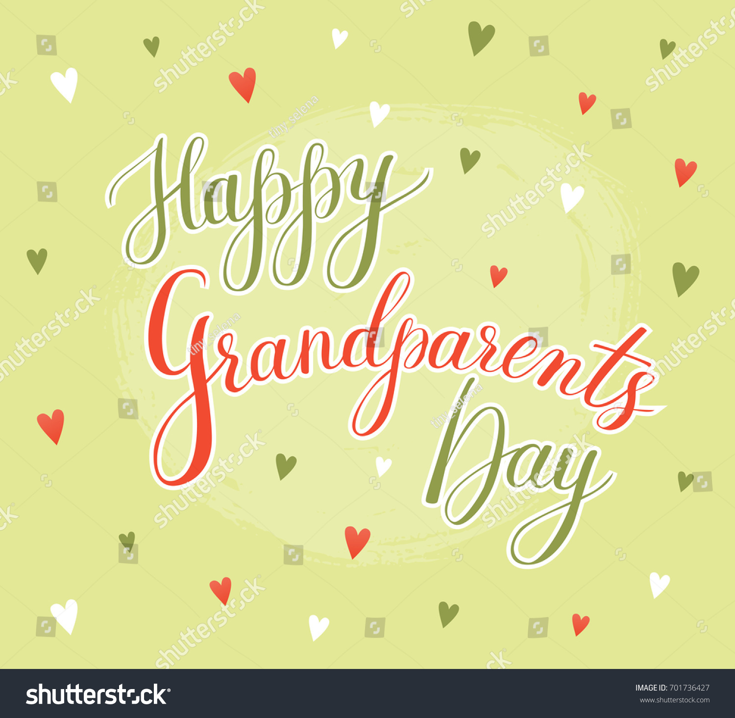 Vector Greeting Card Happy Grandparent Day Lettering Grandparents