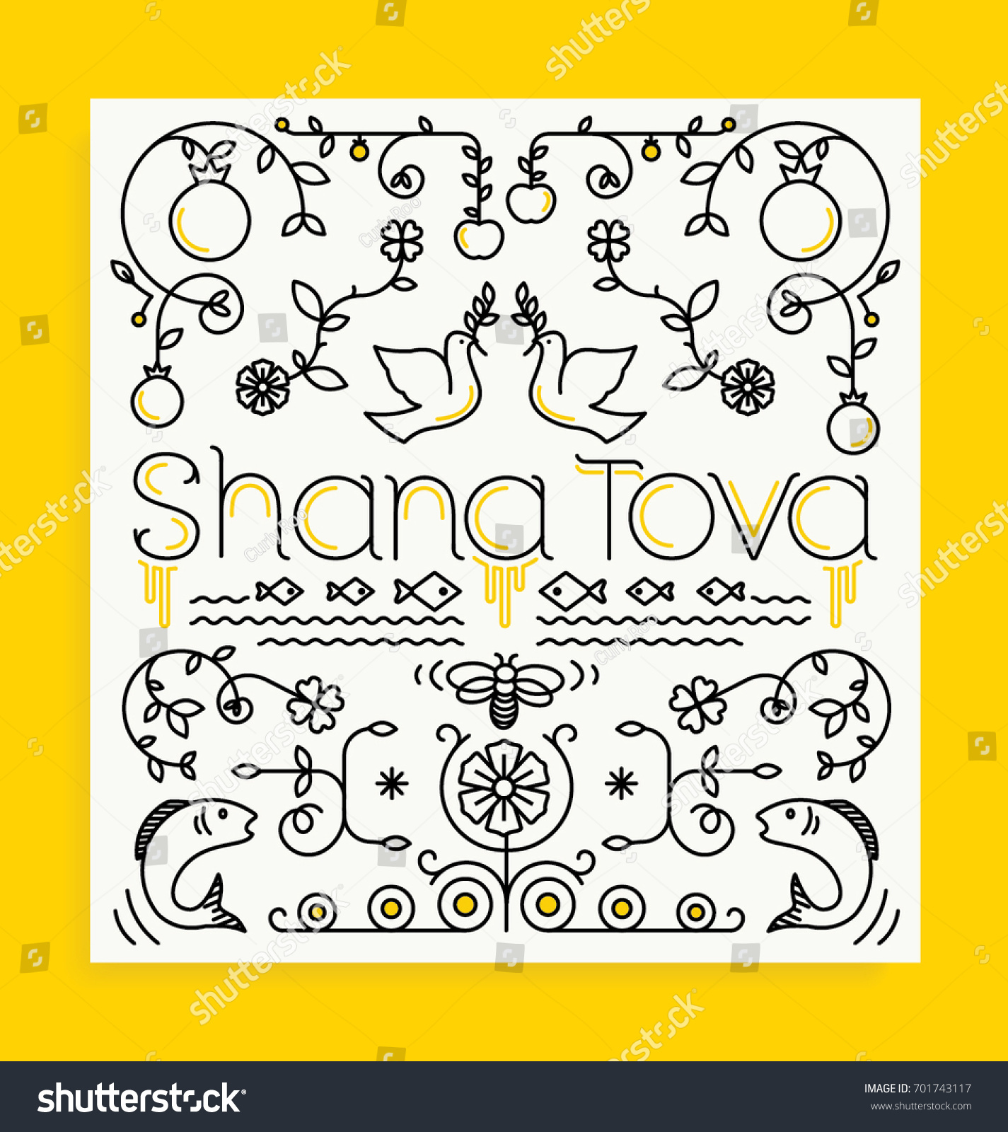 Shana tova card rosh hashanah greeting stock vector 701743117 shana tova card rosh hashanah greeting card jewish new year editable vector illustration kristyandbryce Choice Image
