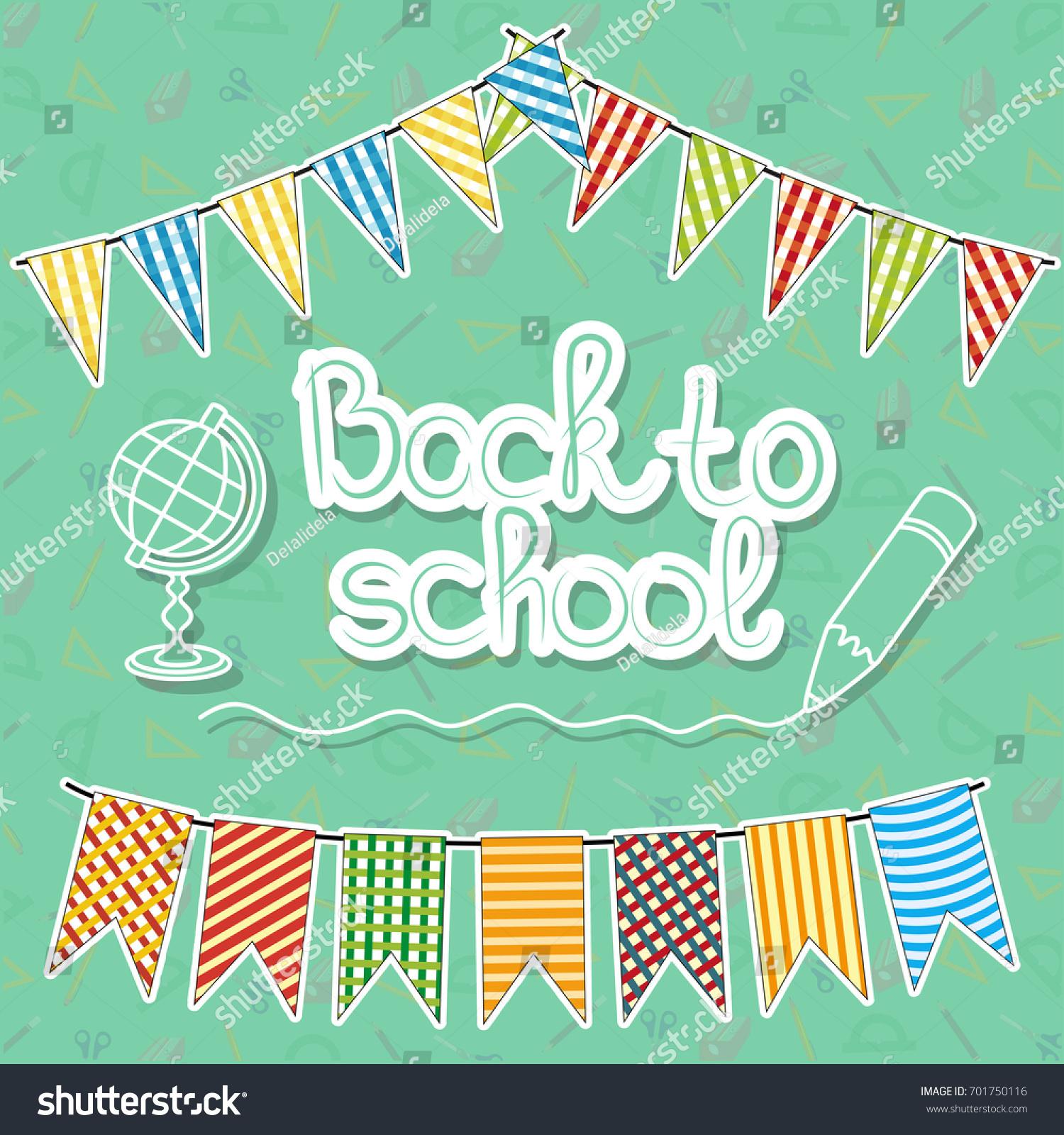 Greetings Card Inscription Back School Stock Vector Royalty Free