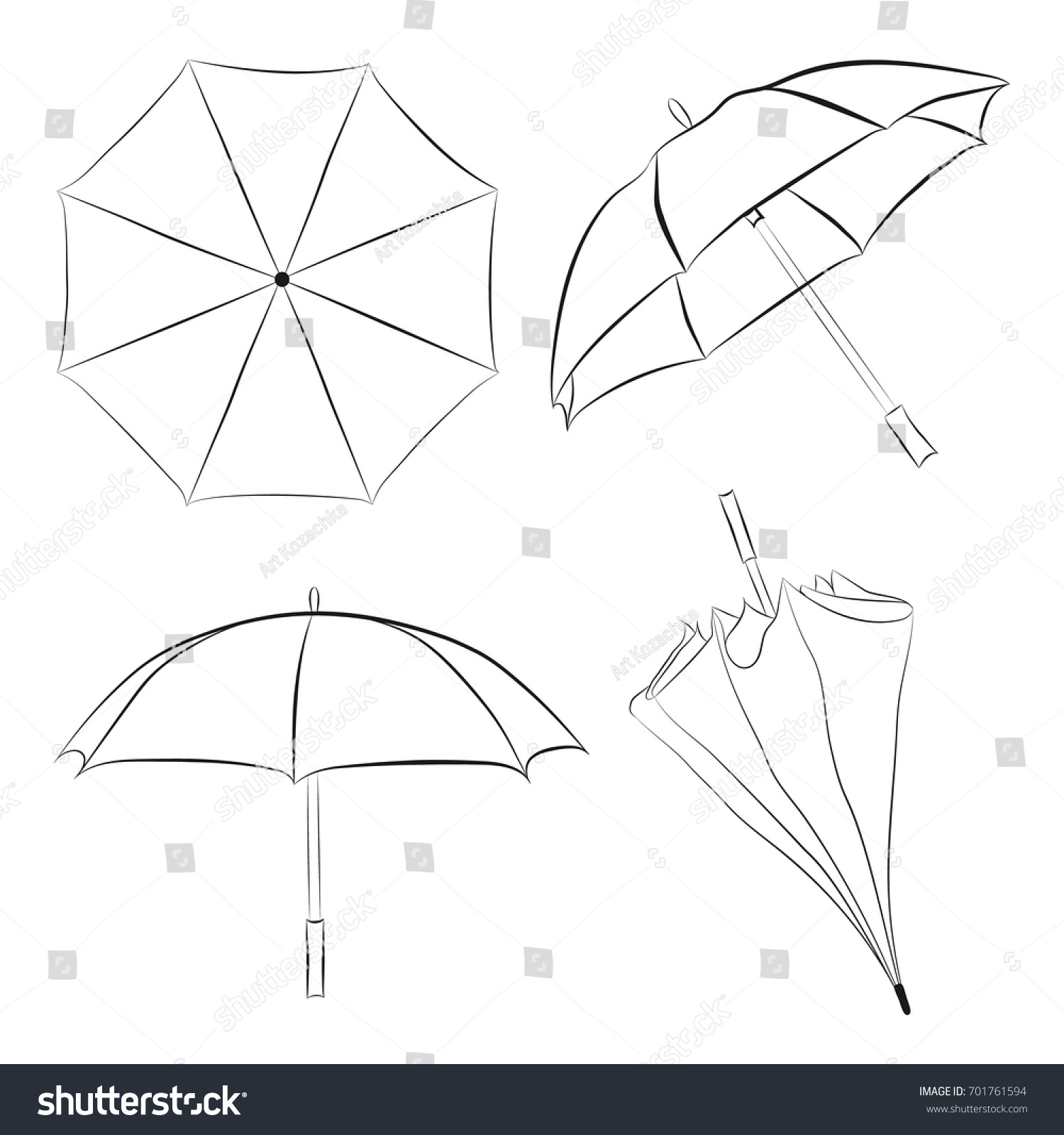 Set of umbrellas sketches doodle style umbrellas vector illustrations vector umbrellas isolated on white