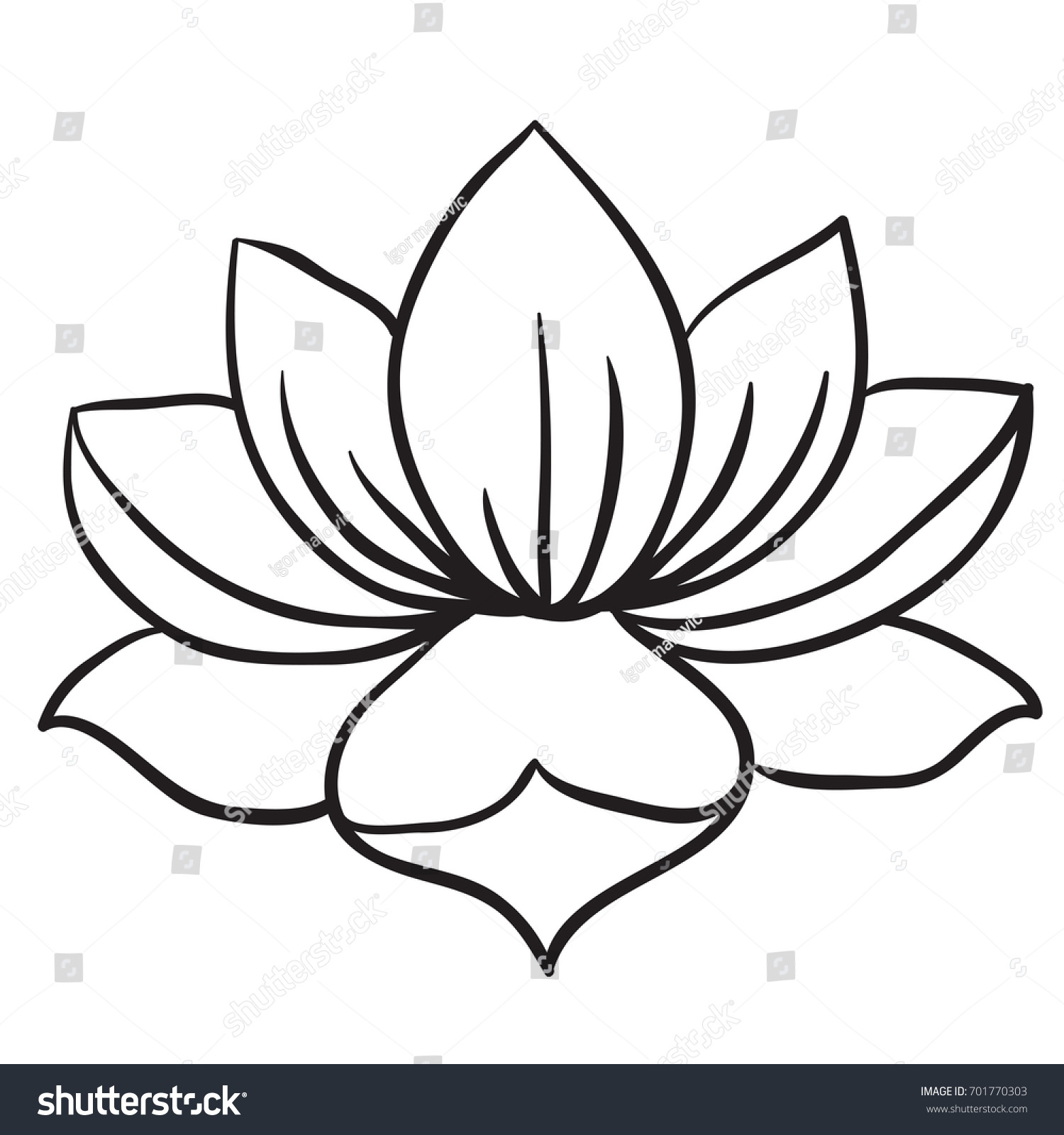 Lotus Flower Black White Cartoon Illustration Stock Vector Royalty