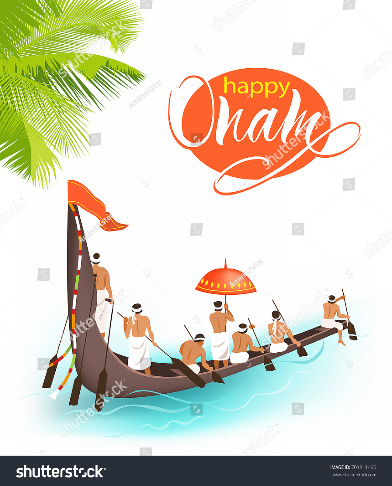 Greeting Background Boat Race Vallamkali South Stock Vector