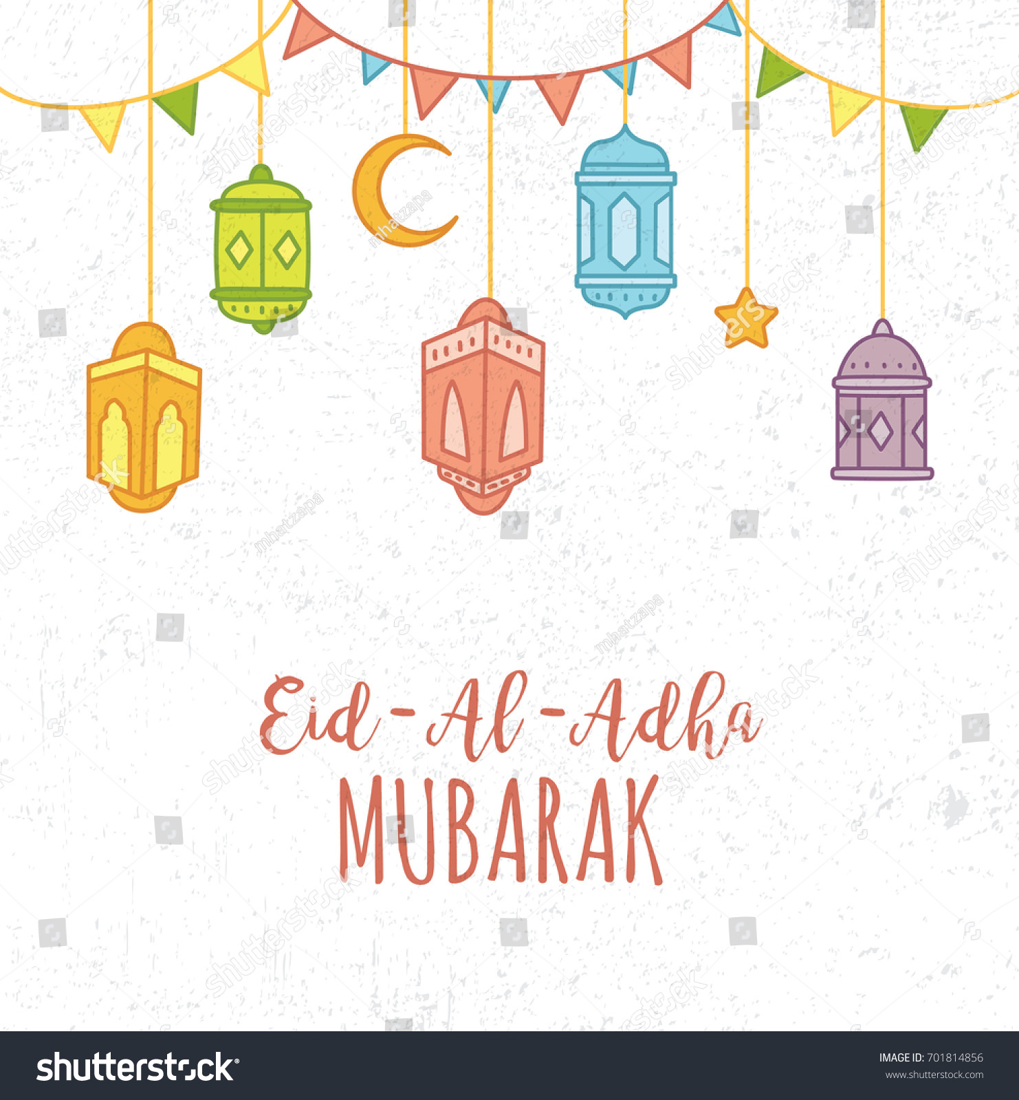 Cute Eid Al Adha Greeting Card Stock Vector 701814856