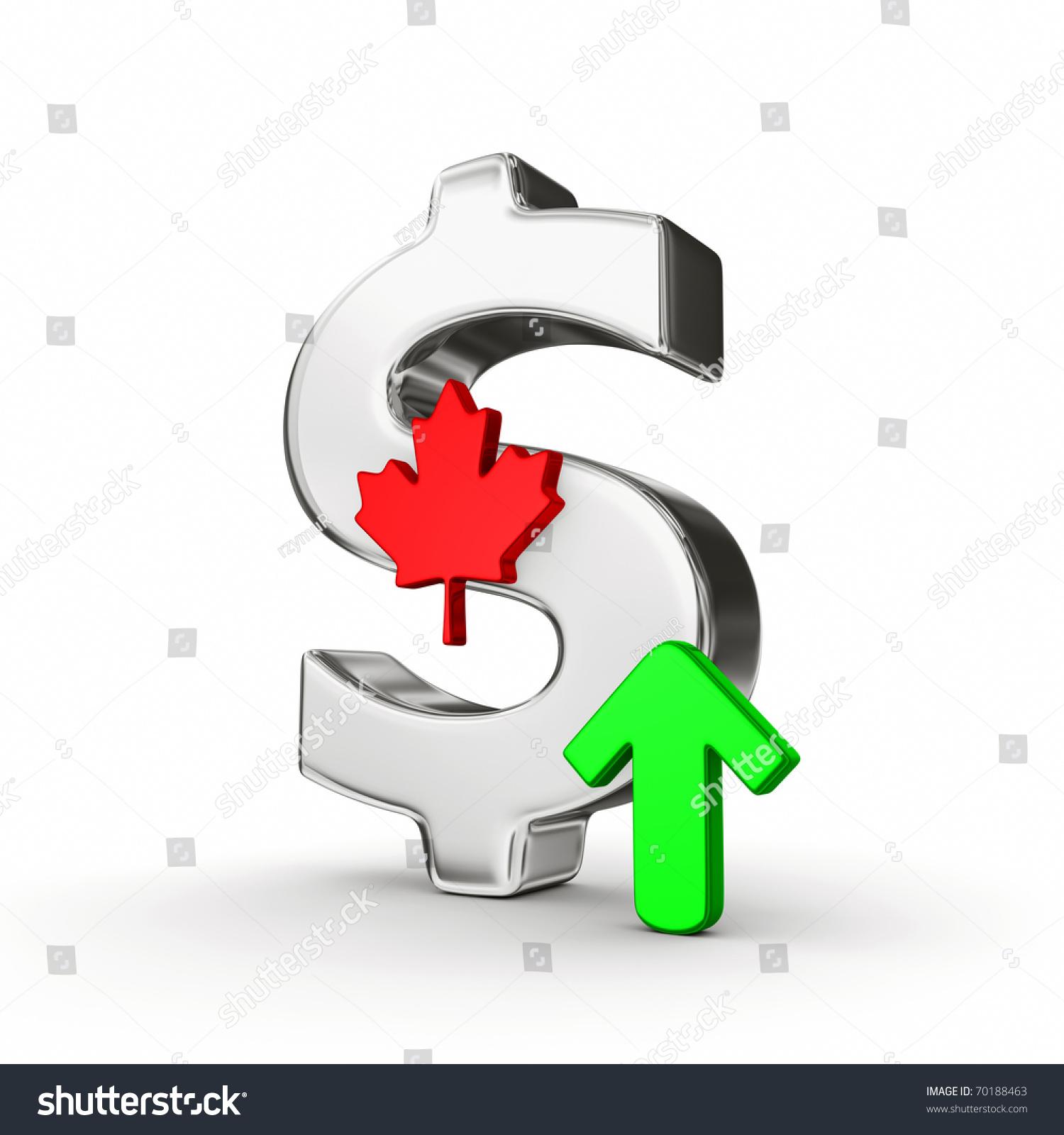 Chrome Canadian Dollar Sign Green Arrow Stock Illustration 70188463