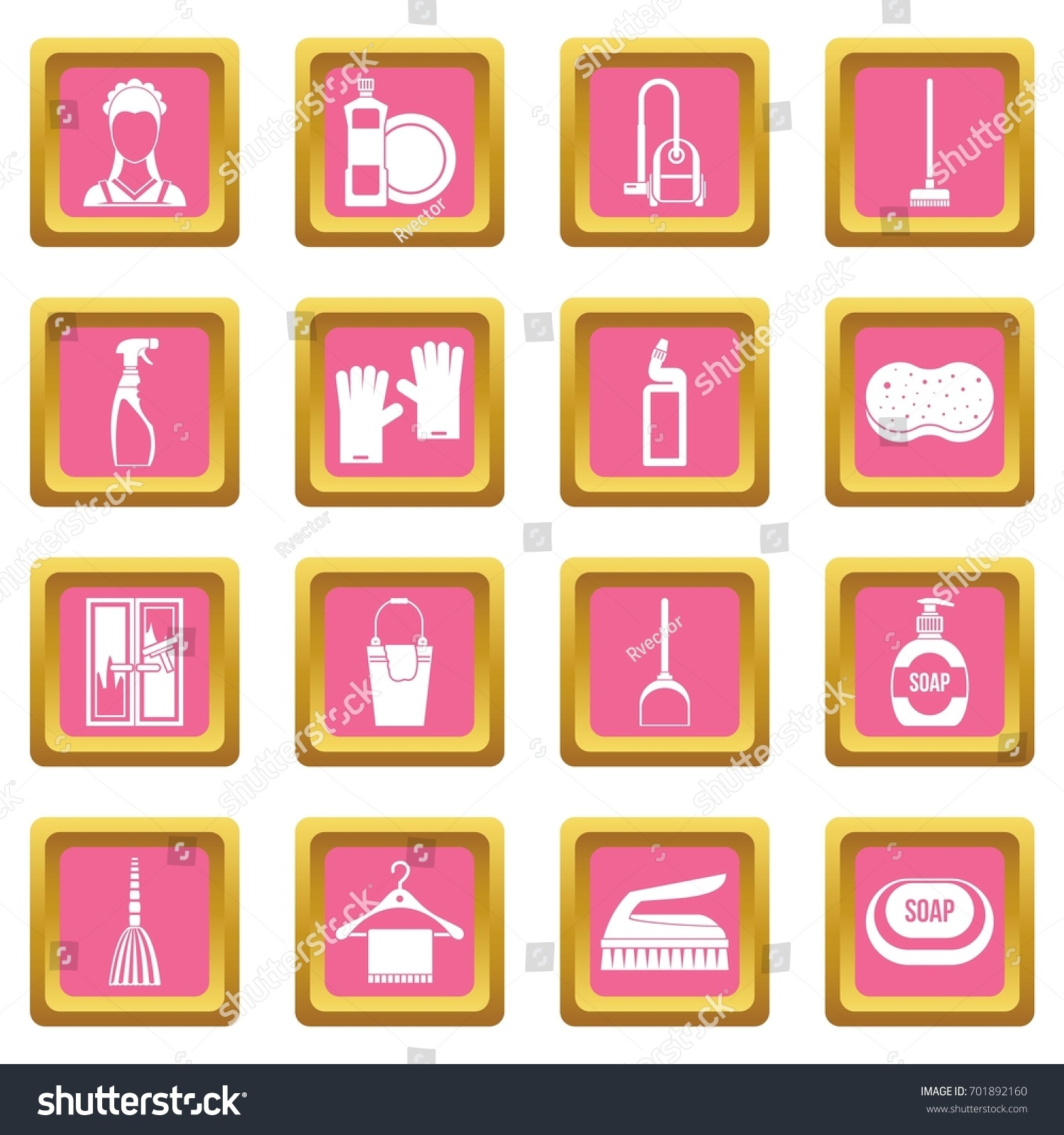 House Cleaning Icons Set Pink Color Stock Vector (Royalty Free ...