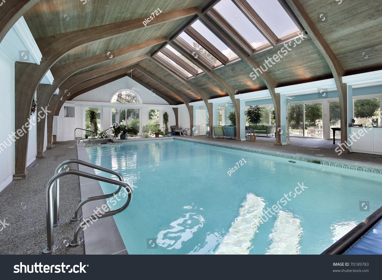 Large indoor swimming pool with six skylights stock photo for Large skylights