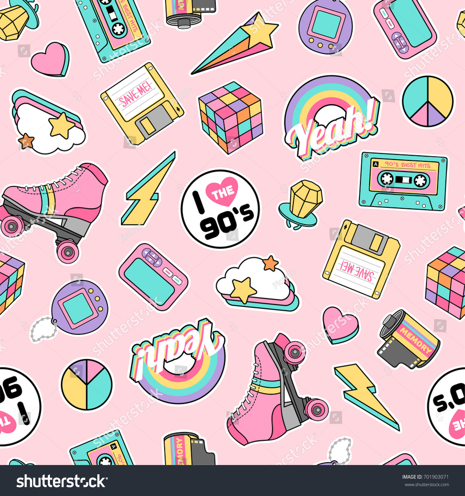 Cute pastel gadget illustration seamless pattern stock vector hd cute pastel gadget illustration seamless pattern with pink background in retro concept voltagebd Gallery