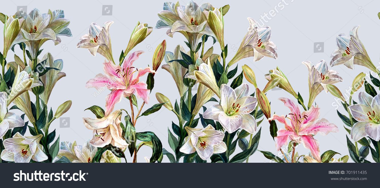 Floral Horizontal Seamless Border Flowers Royal Lilies Stock