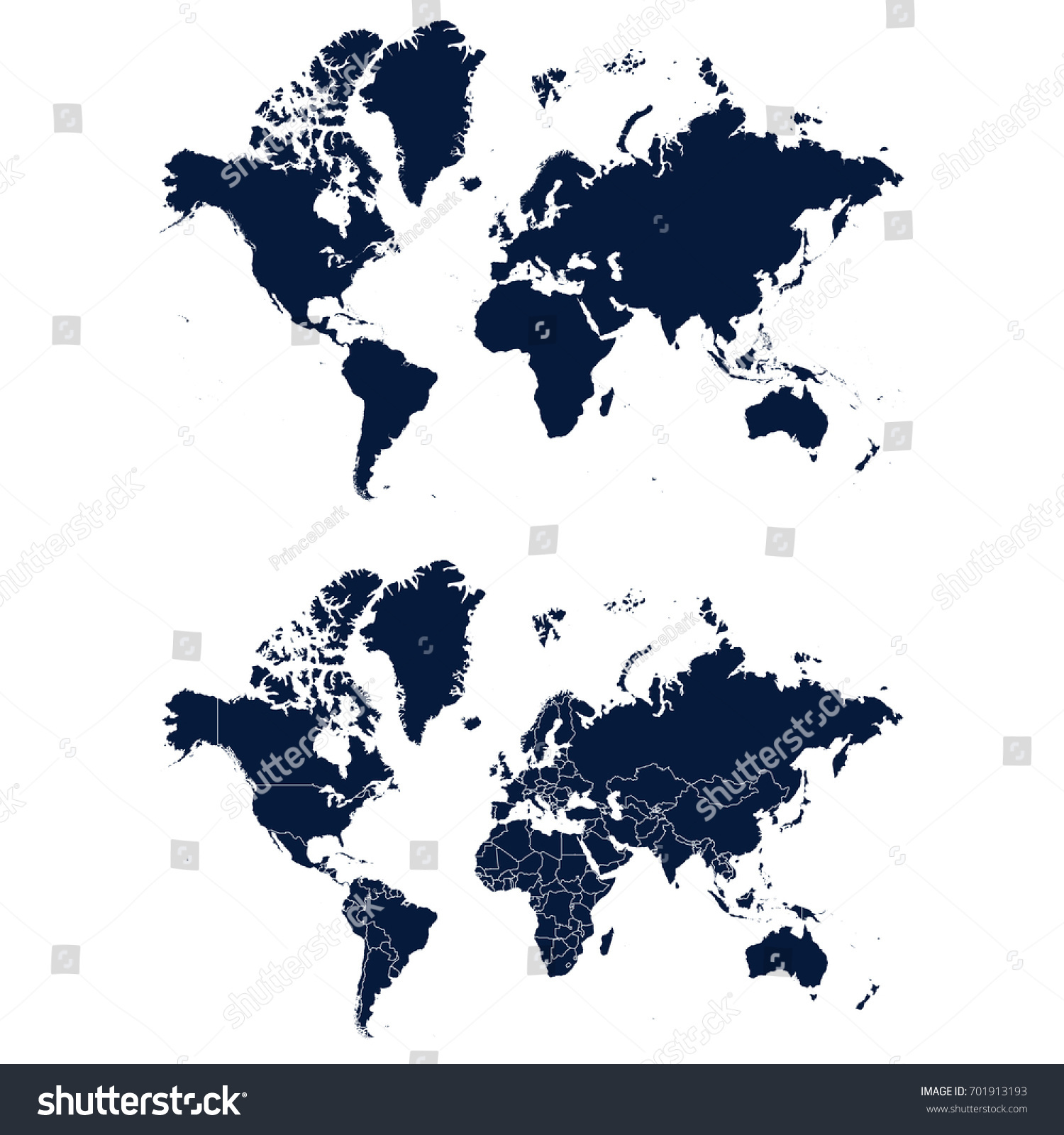 Navy Blue World Map Isolated On Stock Vector Royalty Free